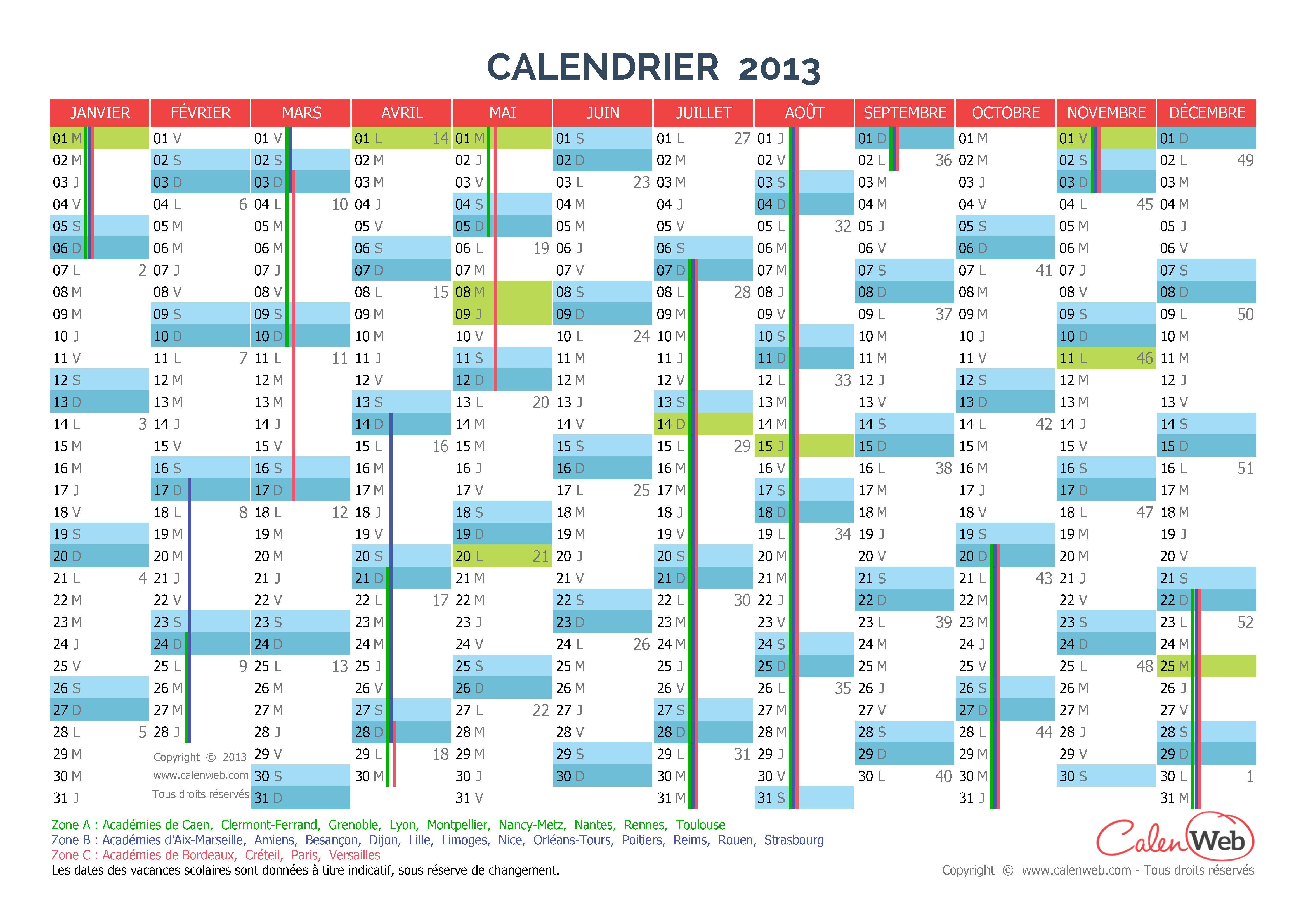 calendrier annuel ann e 2013 avec jours f ri s et vacances scolaires. Black Bedroom Furniture Sets. Home Design Ideas