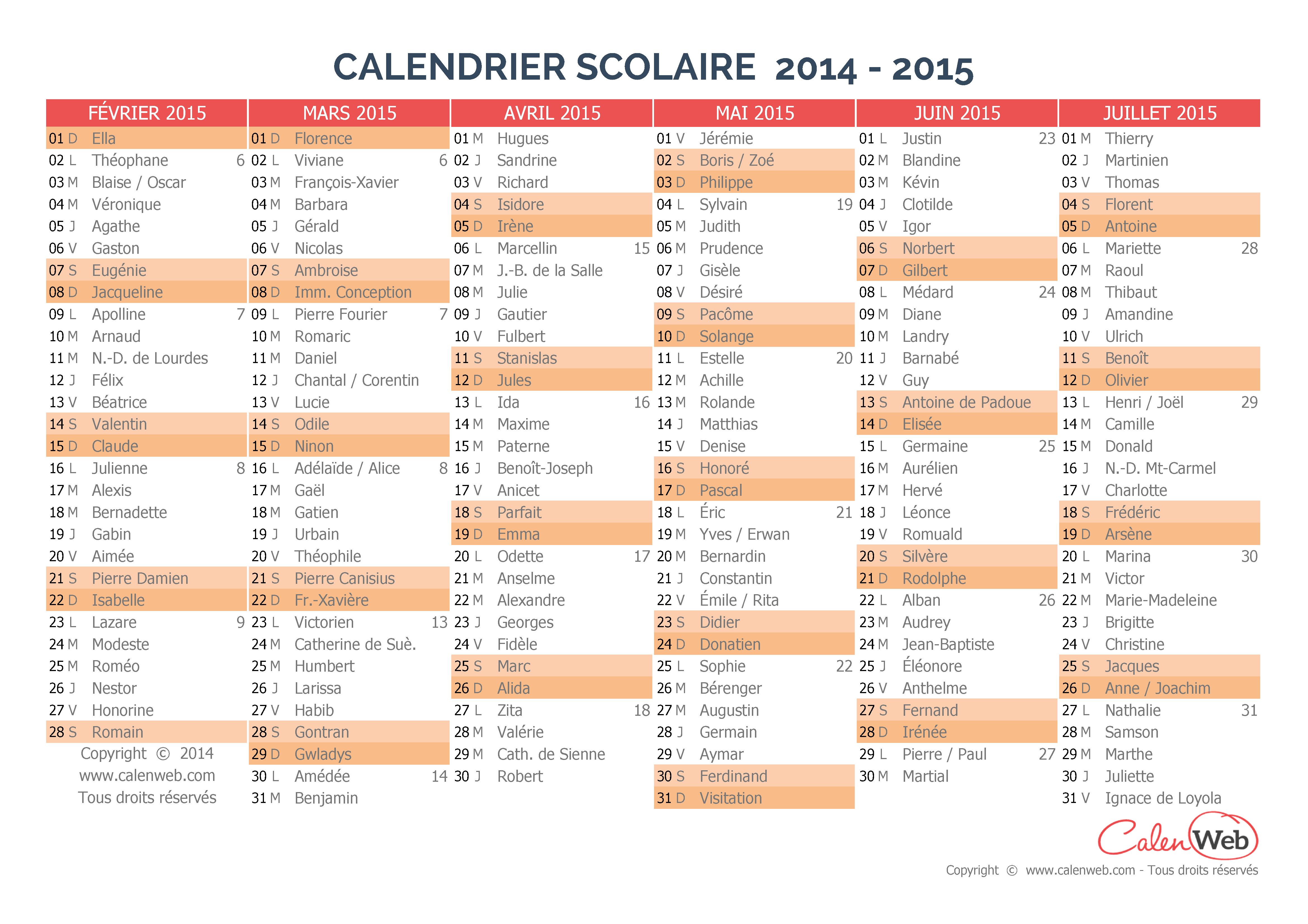 Calendriers scolaires semestriels - Calendrier scolaire 2014 2015 ...