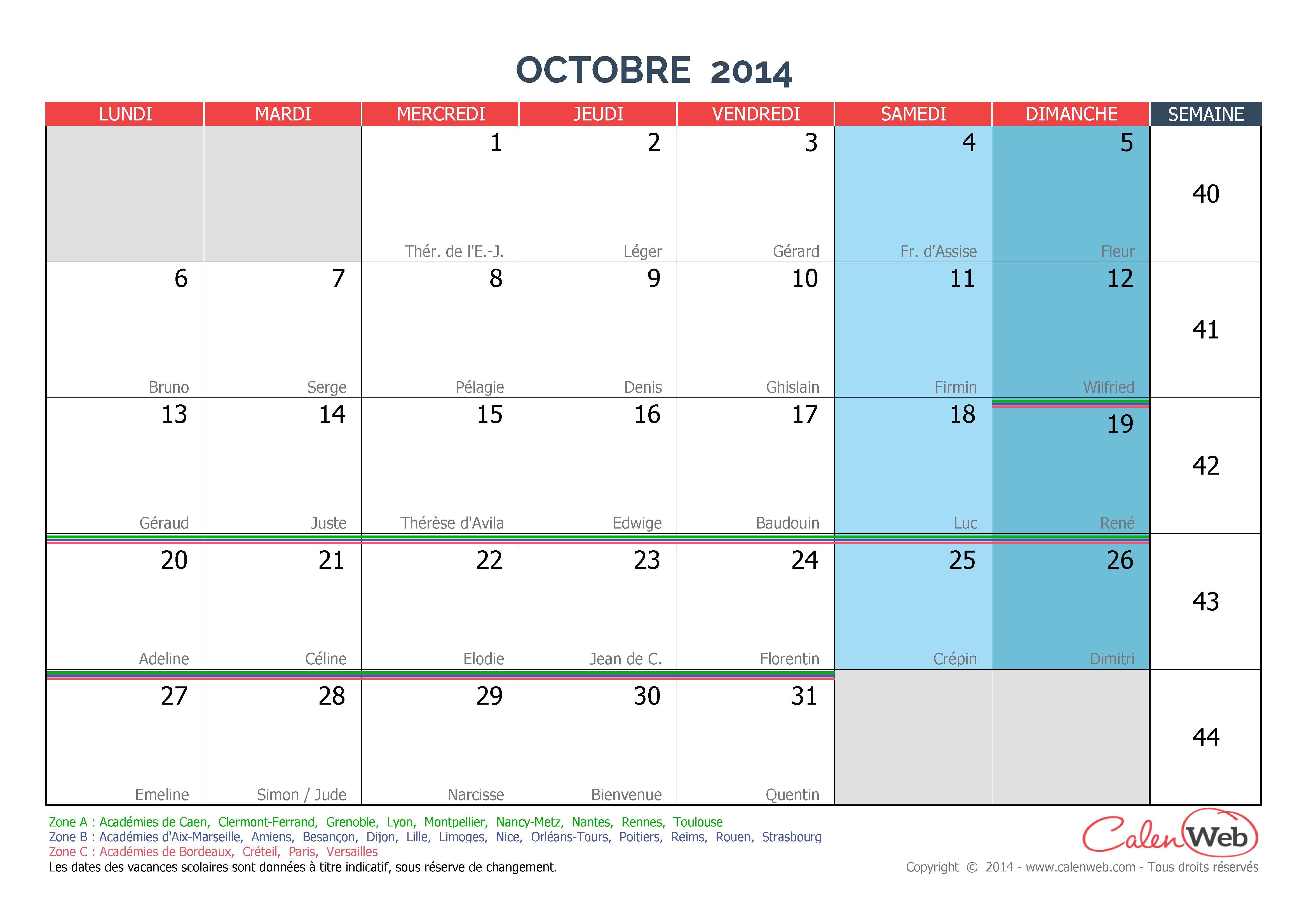 calendrier mensuel mois d 39 octobre 2014 avec f tes jours f ri s et vacances scolaires. Black Bedroom Furniture Sets. Home Design Ideas