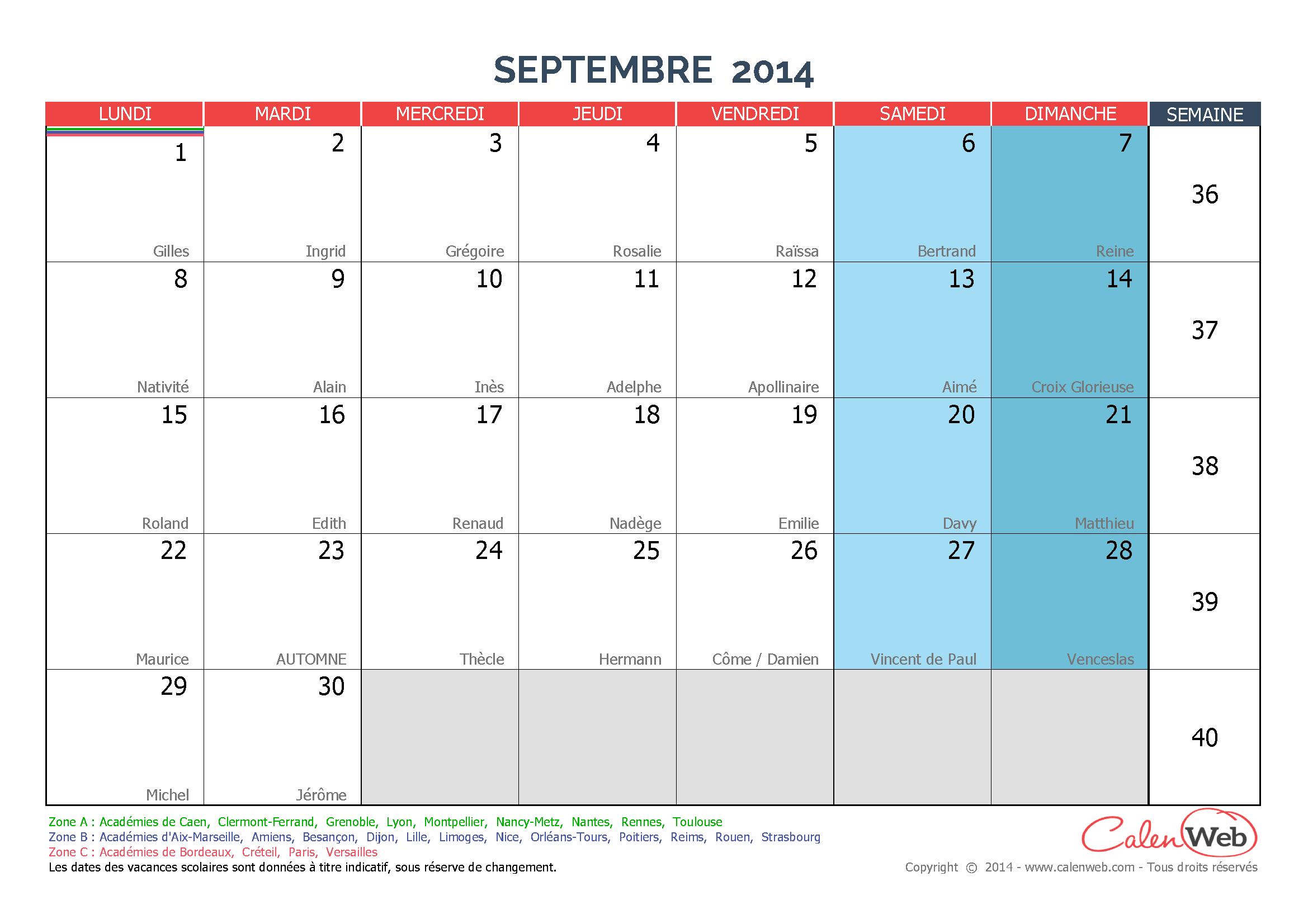 calendriers mensuels a imprimer mois septembre jours feries vacances ...