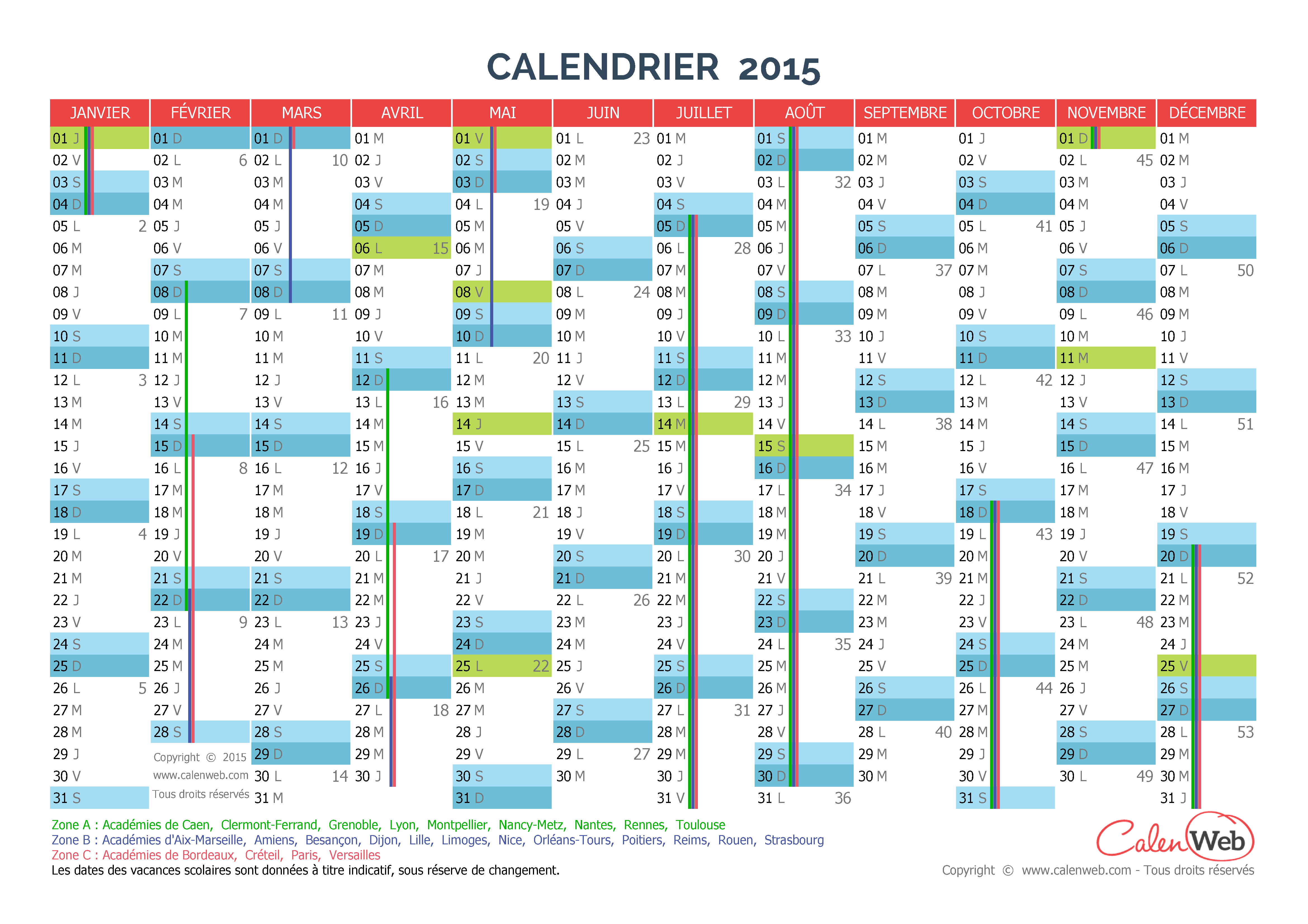 Calendrier annuel ann e 2015 avec jours f ri s et for Calendrier mural 2015