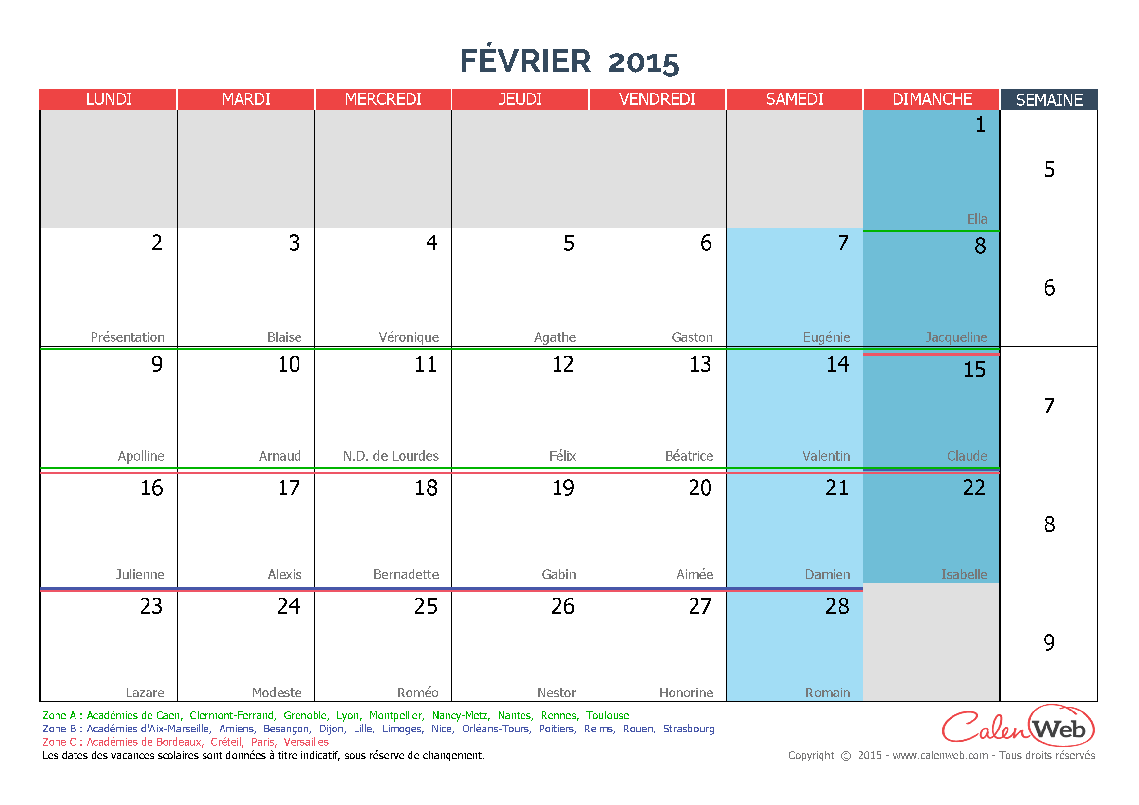 calendrier mensuel mois de f vrier 2015 avec f tes. Black Bedroom Furniture Sets. Home Design Ideas