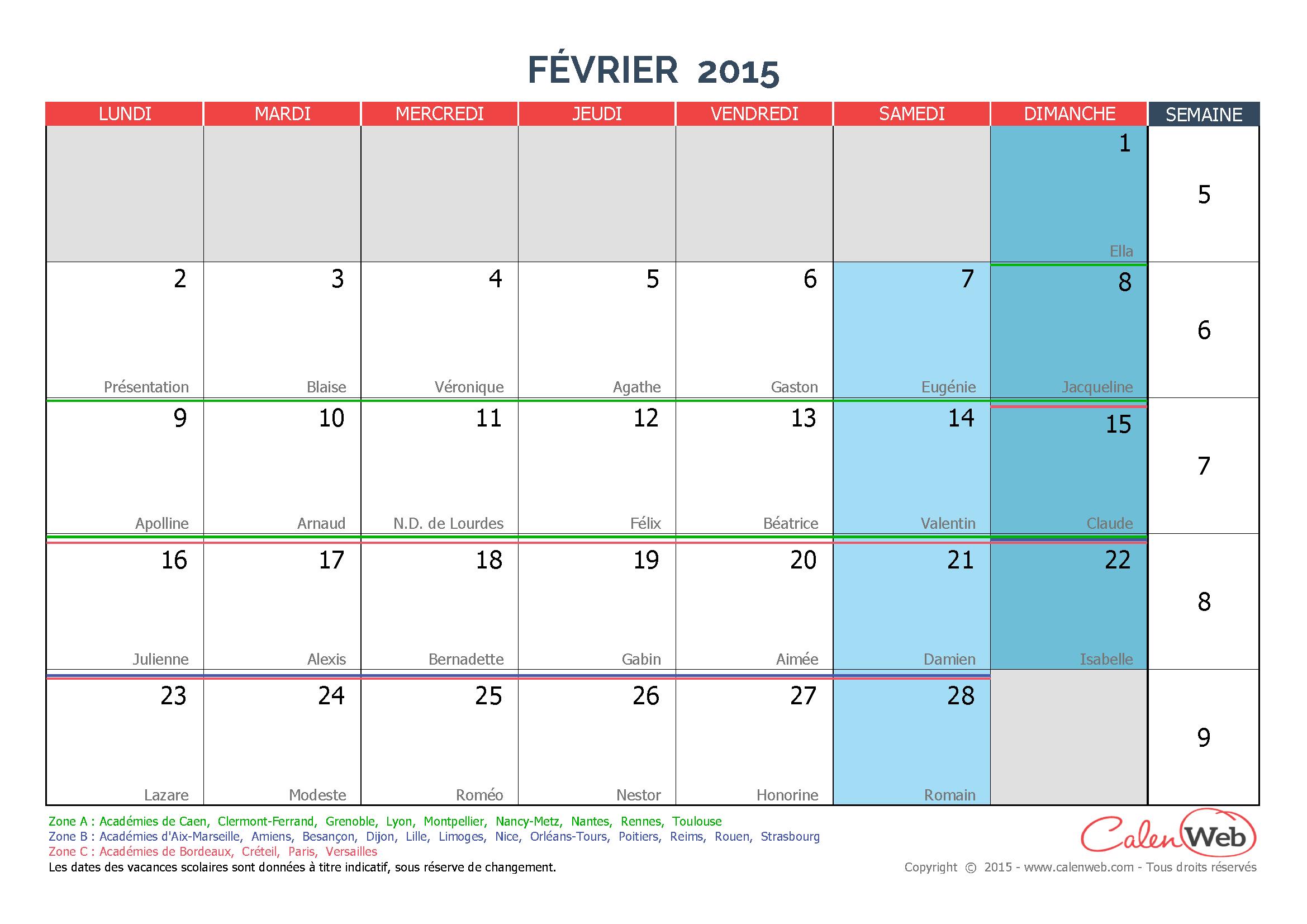 calendrier mensuel mois de f vrier 2015 avec f tes jours f ri s et vacances scolaires. Black Bedroom Furniture Sets. Home Design Ideas