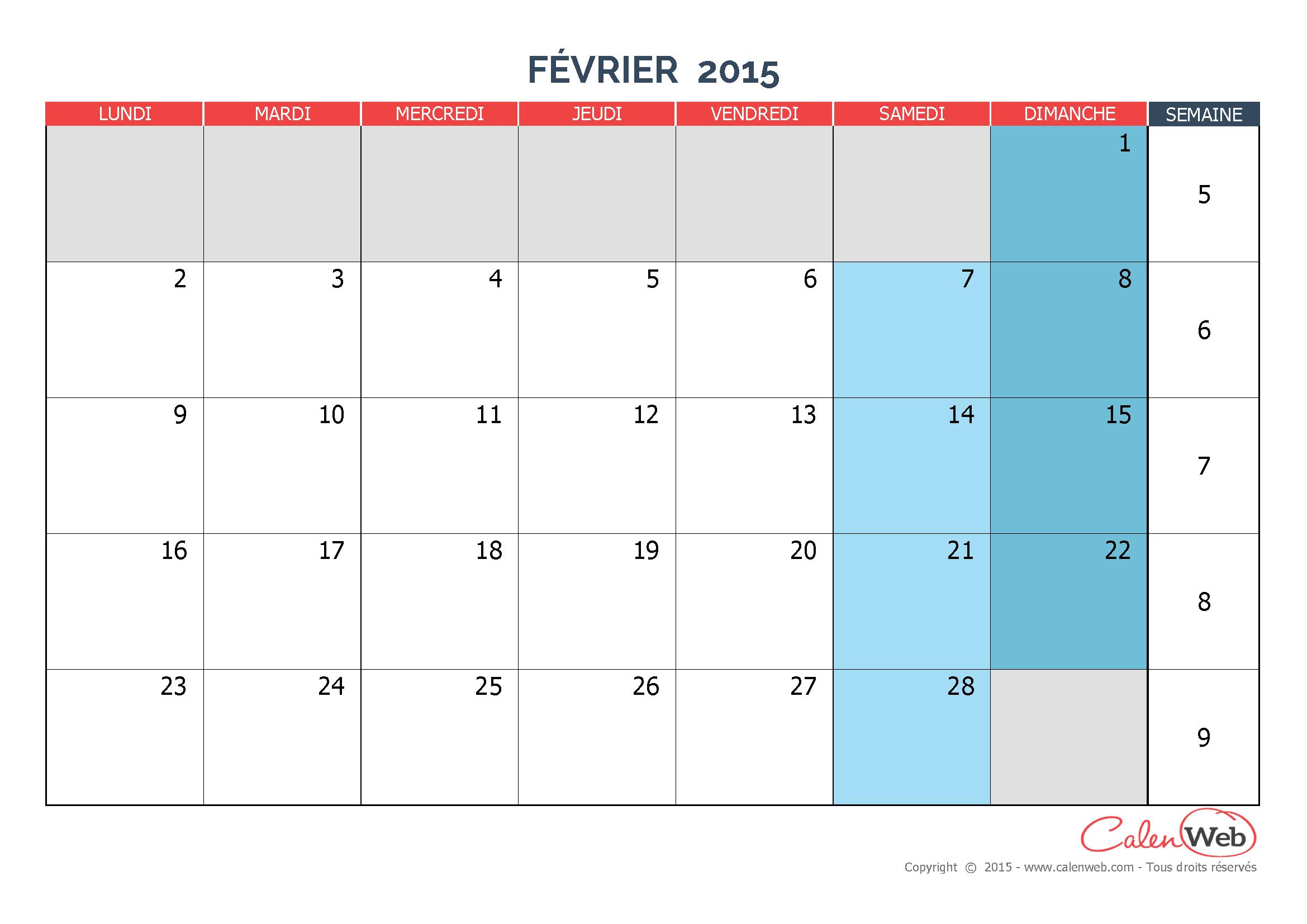 Calendrier mensuel mois de f vrier 2015 version vierge for Calendrier mural 2015
