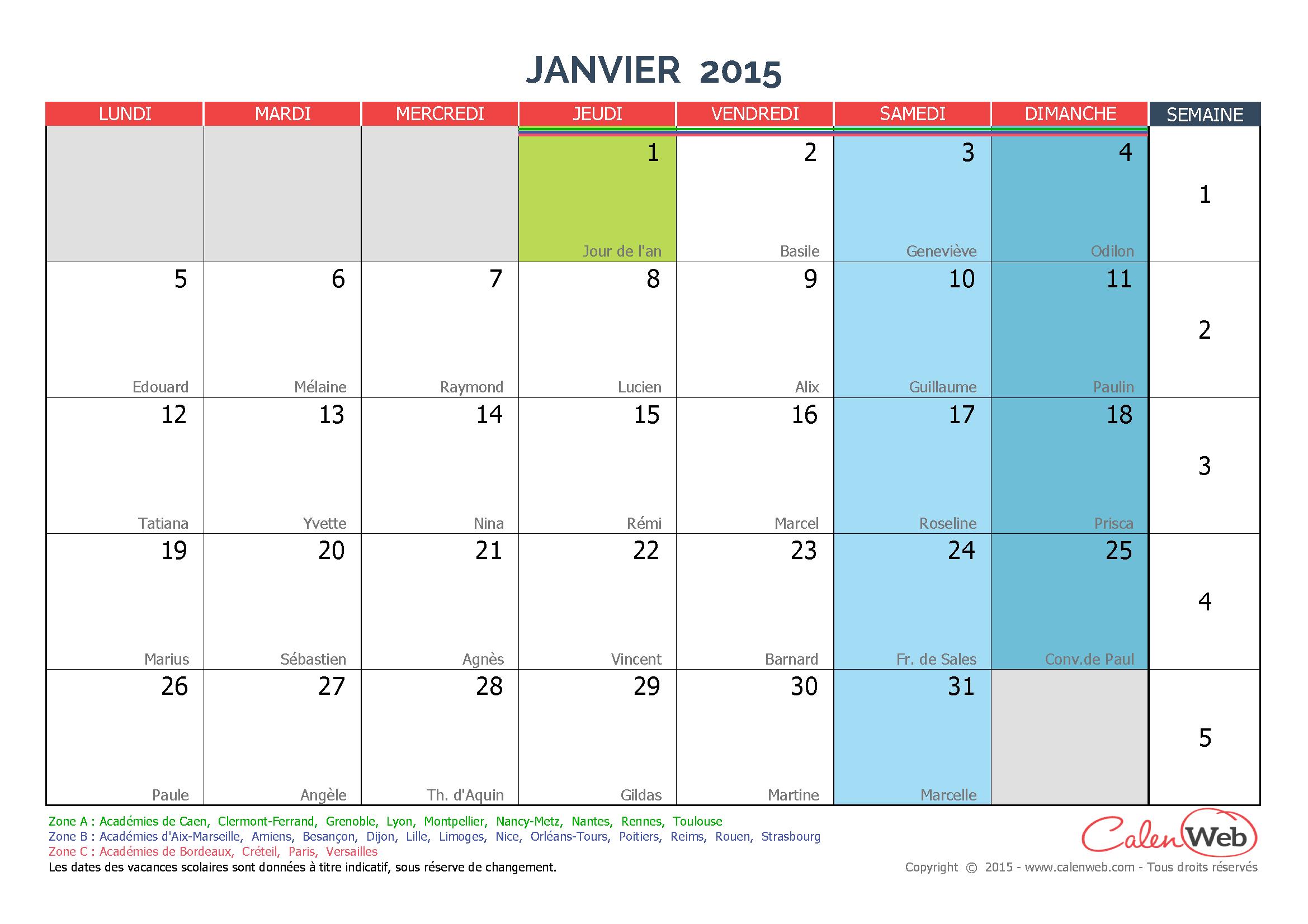 Calendrier mensuel mois de janvier 2015 avec f tes for Calendrier mural 2015