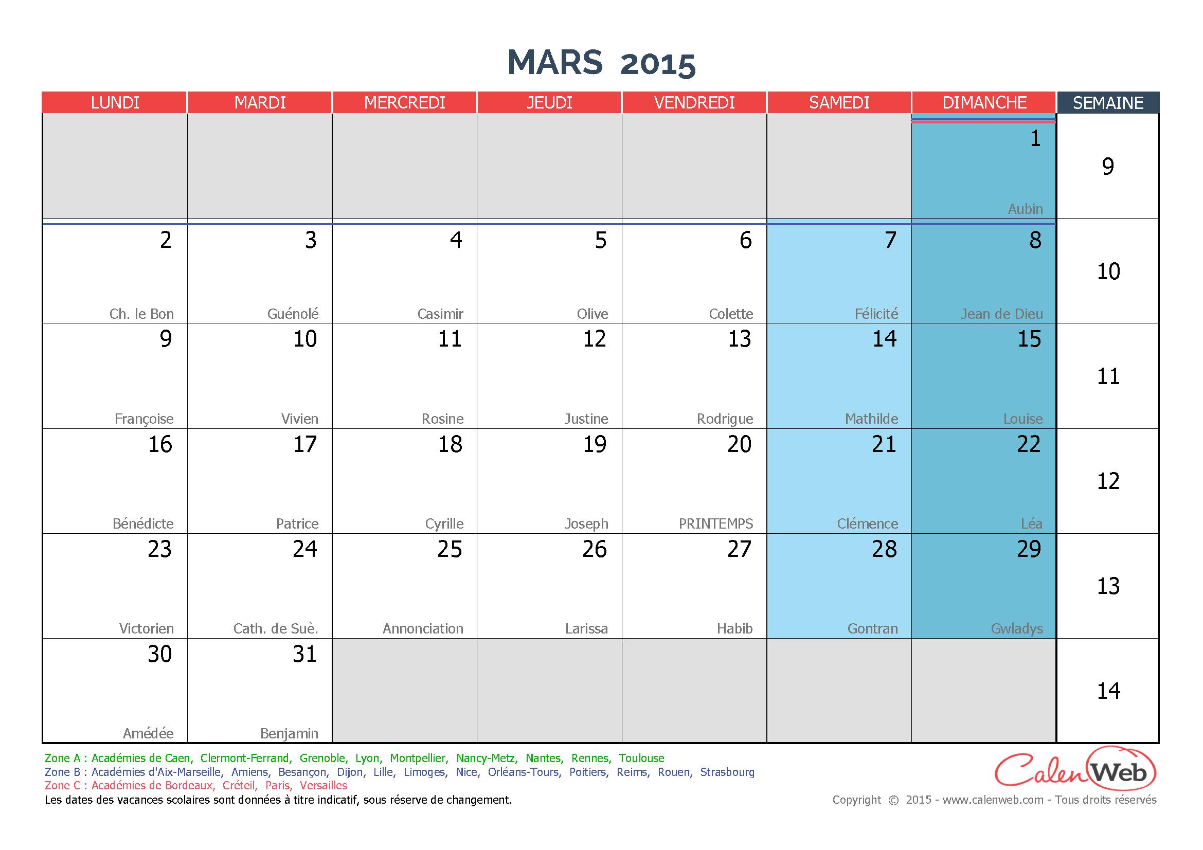 calendrier mensuel mois de mars 2015 avec f tes jours f ri s et vacances scolaires. Black Bedroom Furniture Sets. Home Design Ideas