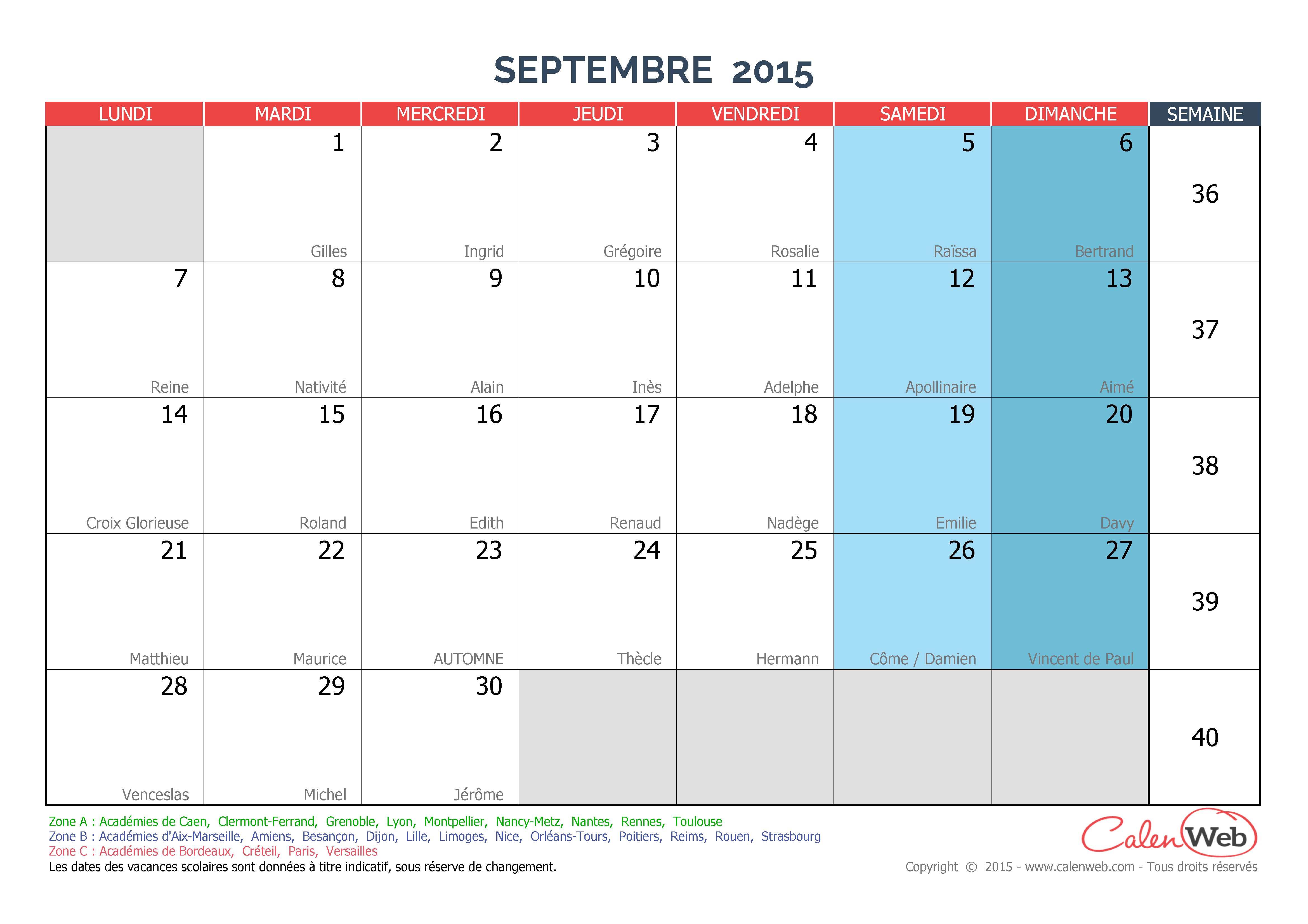 Calendrier Mensuel 2015 2016 2017 Etc Calendrier Scolaire Pictures to ...