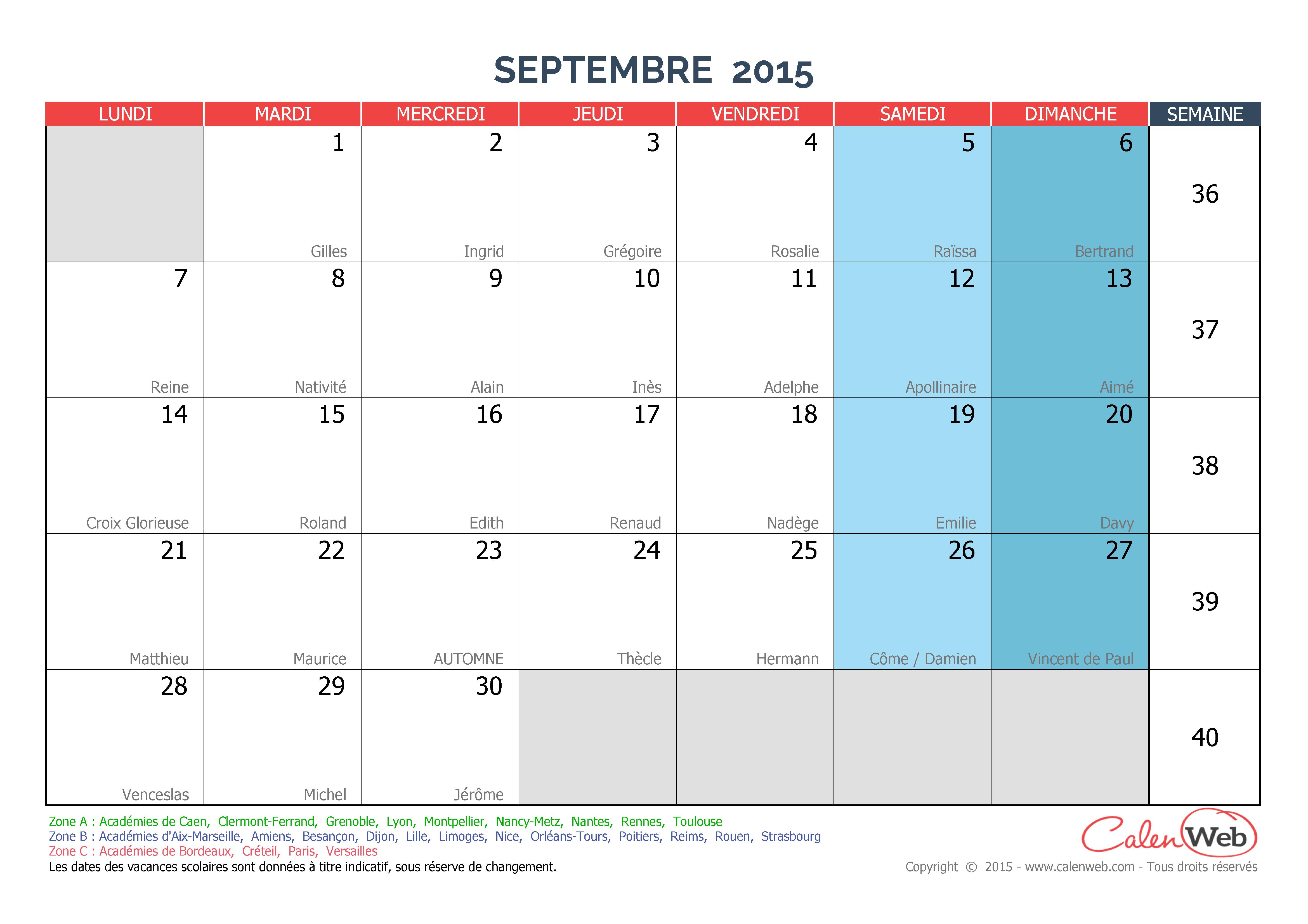 calendrier mensuel mois de septembre 2015 avec f tes