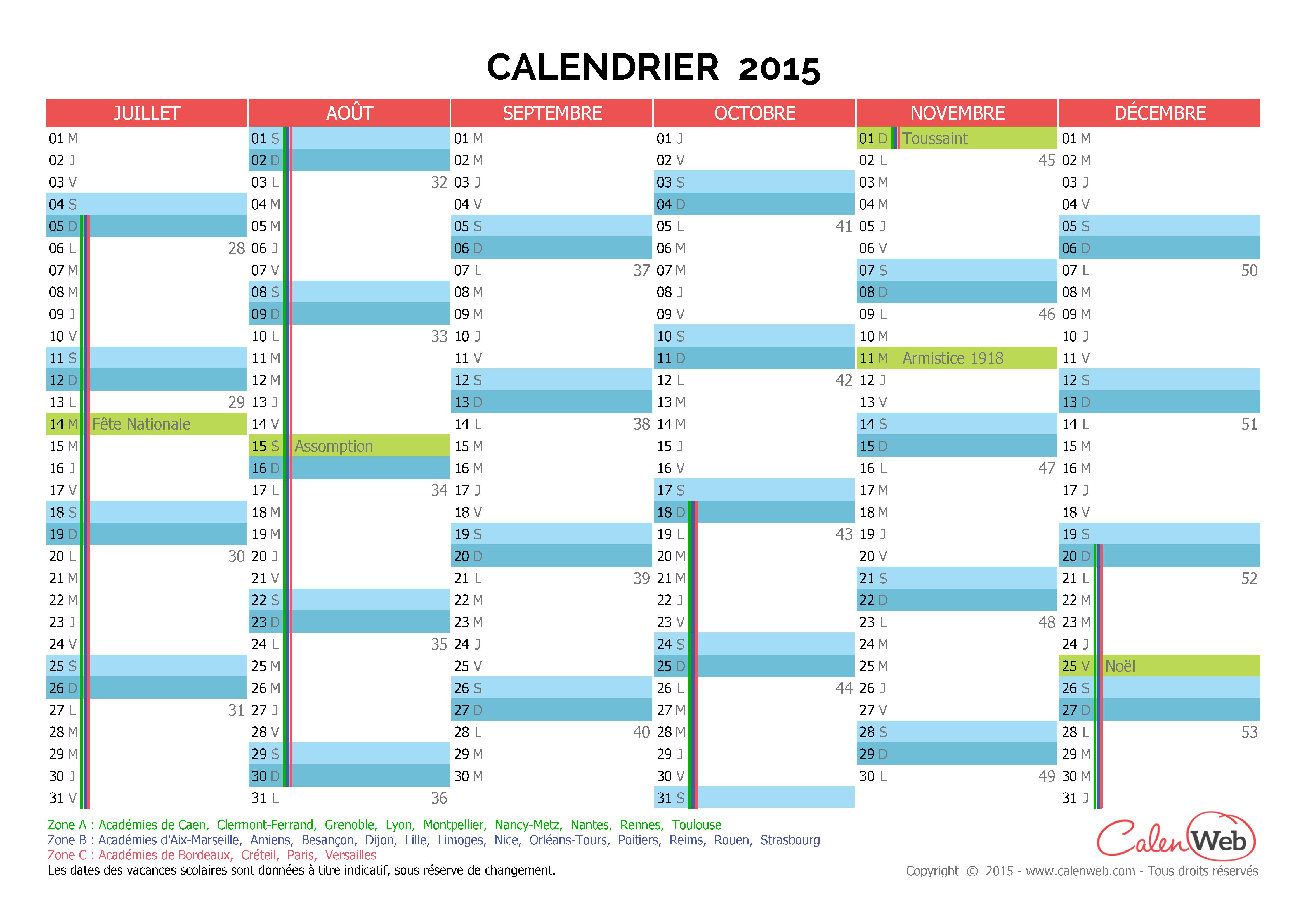 calendrier semestriel ann e 2015 avec jours f ri s et vacances scolaires. Black Bedroom Furniture Sets. Home Design Ideas
