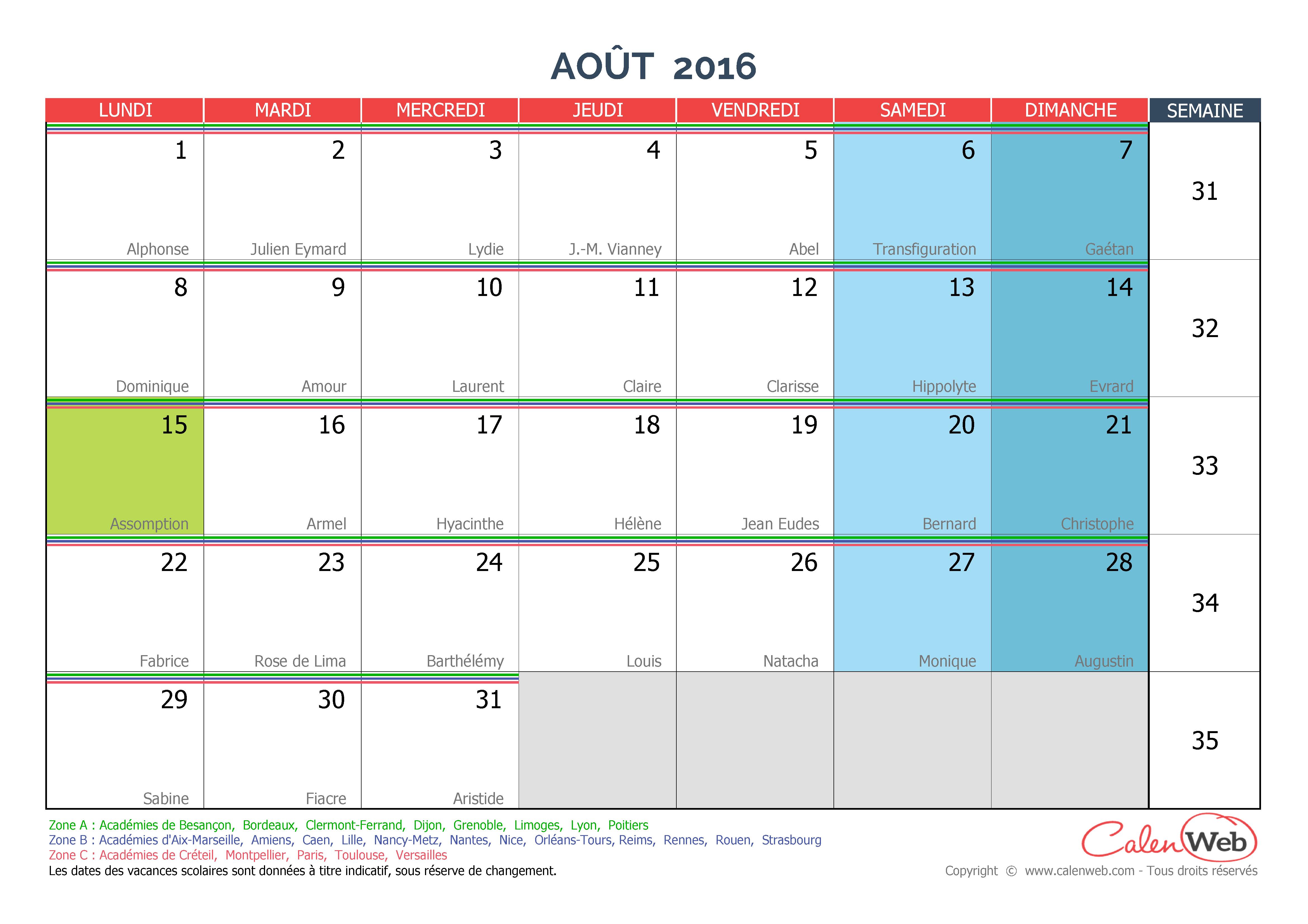 calendrier mensuel mois d 39 ao t 2016 avec f tes jours f ri s et vacances scolaires. Black Bedroom Furniture Sets. Home Design Ideas