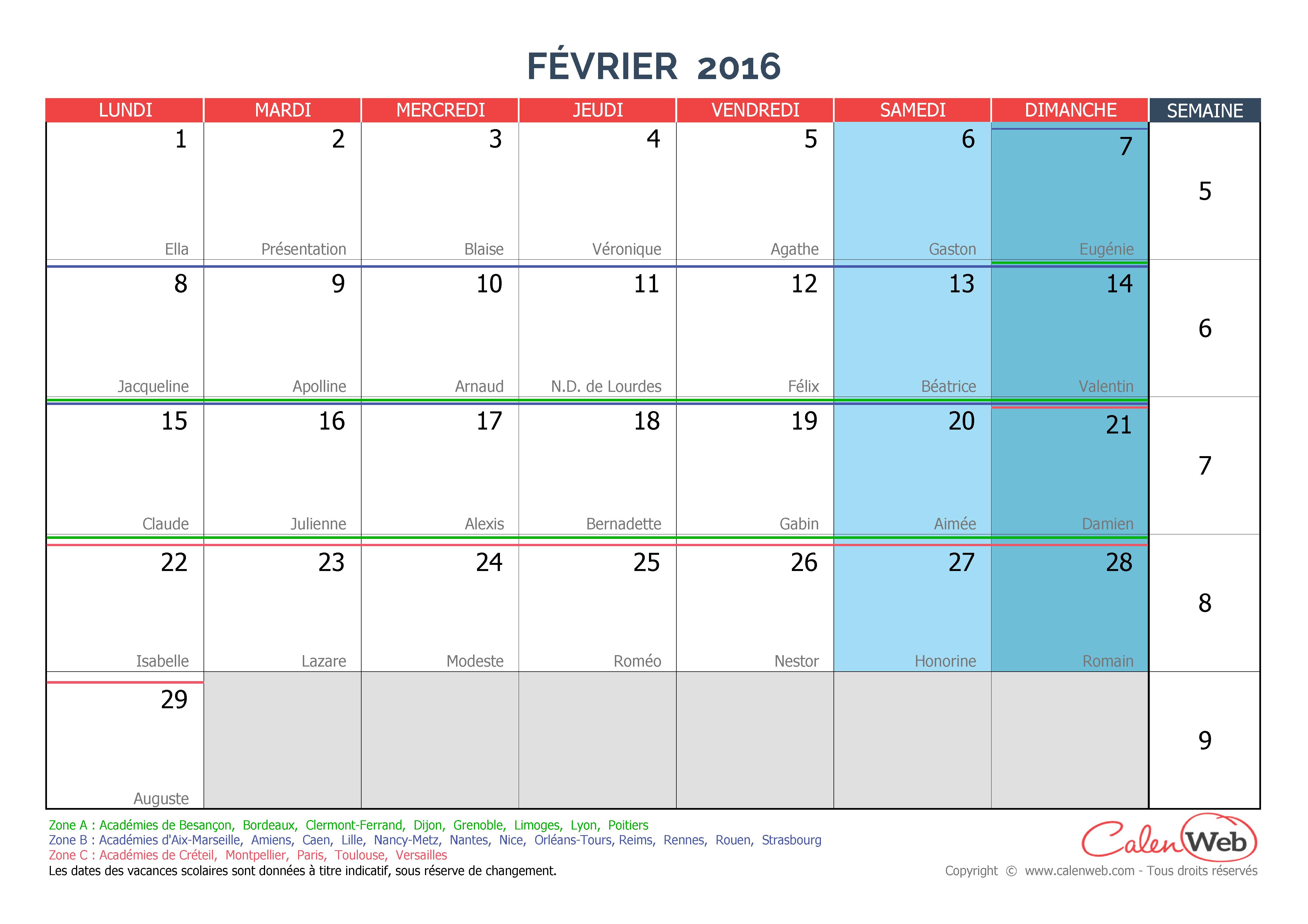 Calendrier mensuel mois de f vrier 2016 avec f tes jours f ri s et vacances scolaires - Vacances de noel 2016 dates ...