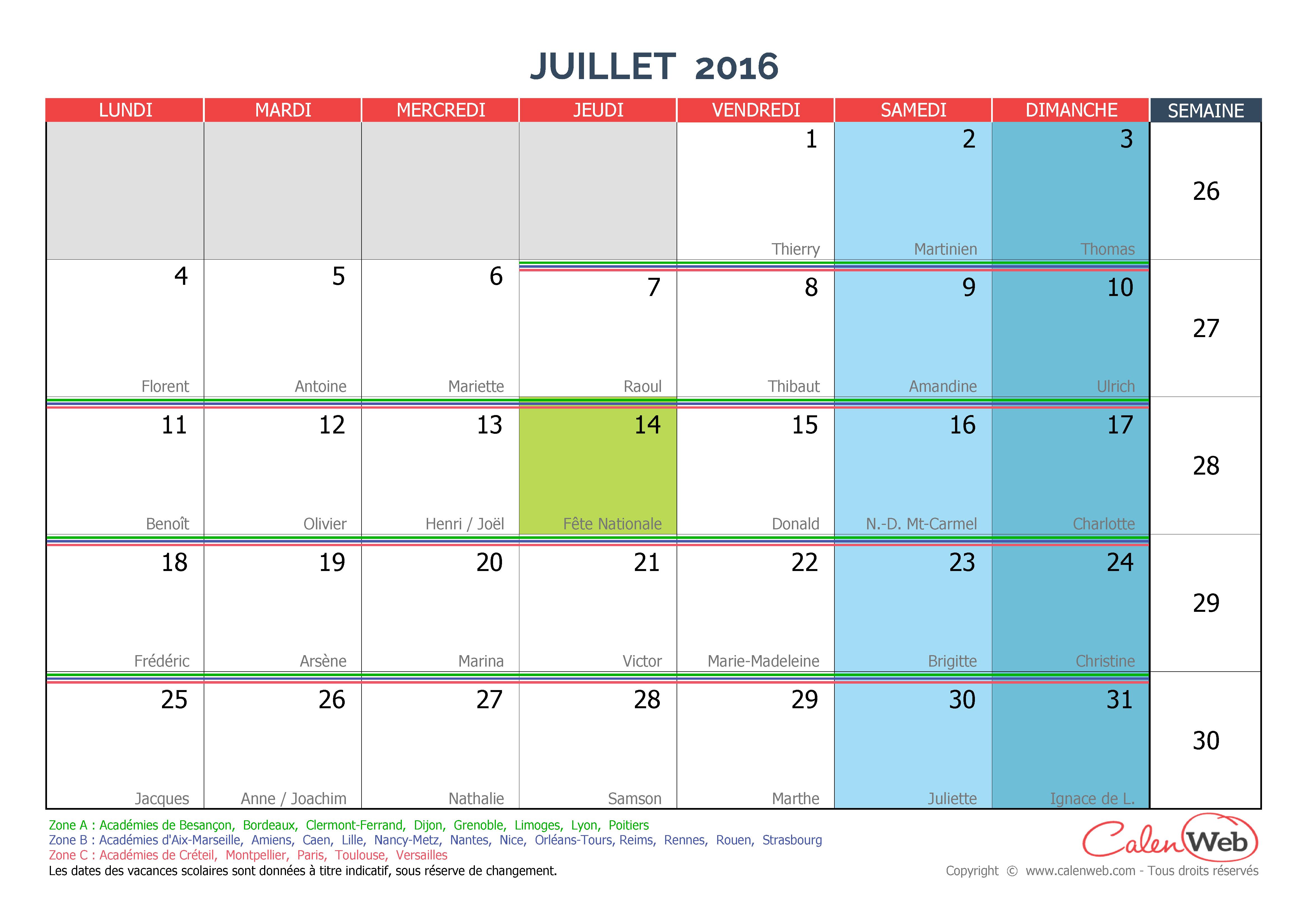 Calendrier mensuel mois de juillet 2016 avec f tes jours f ri s et vacances scolaires - Jour de l hiver 2016 ...