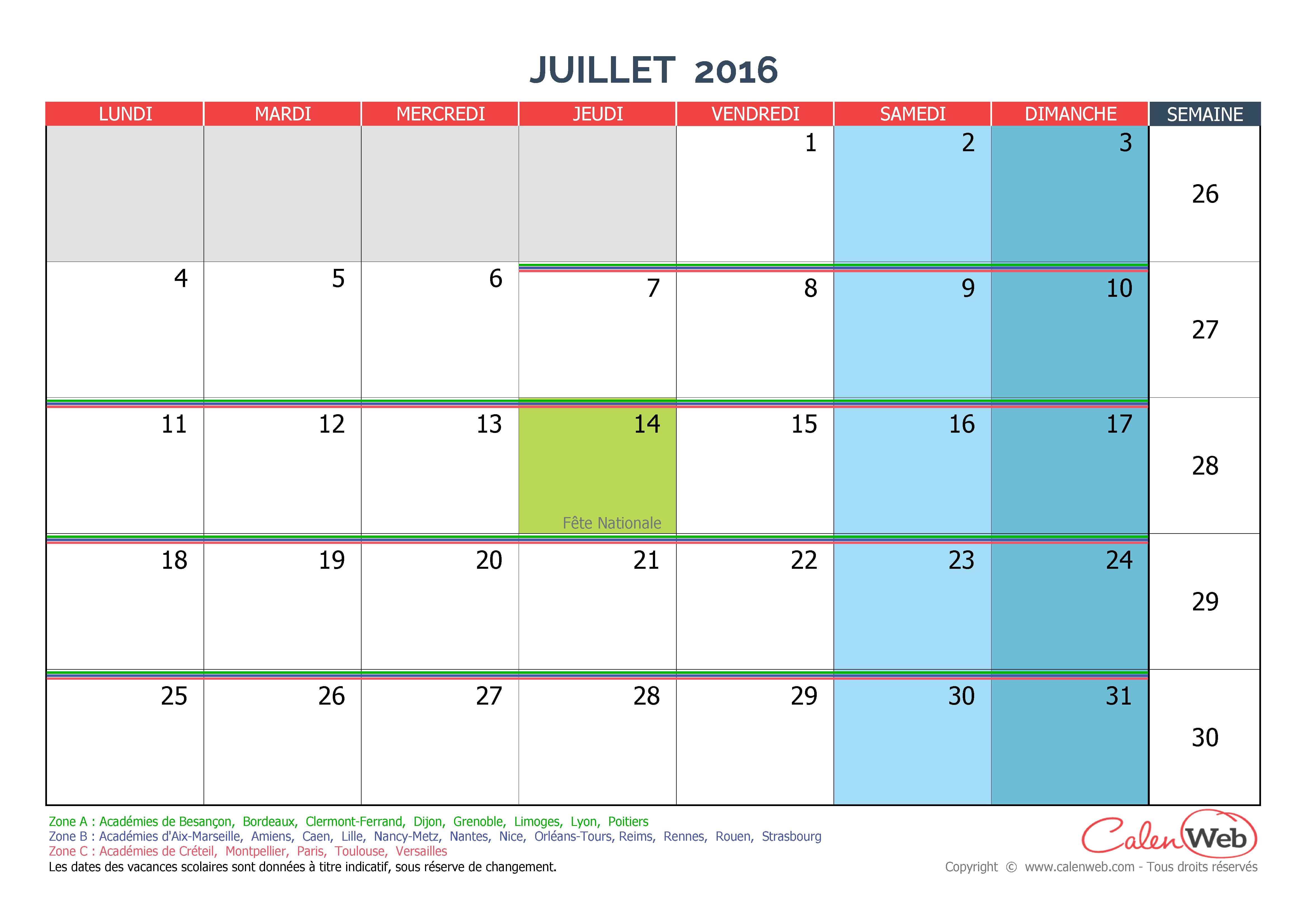 Calendrier mensuel - Mois de juillet 2016 Avec jours fériés et ...