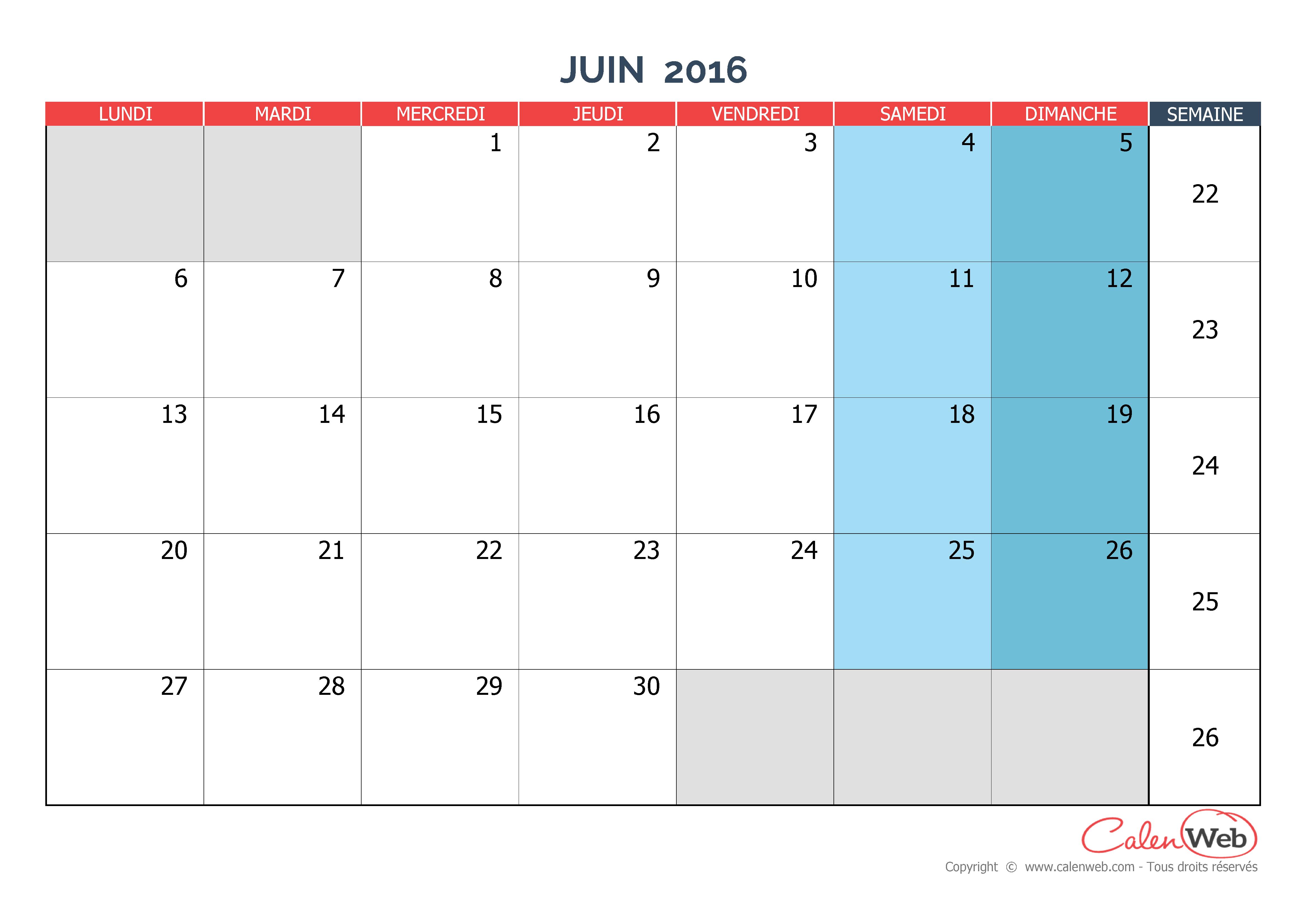 Calendrier mensuel - Mois de juin 2016 Version vierge - Calenweb.com