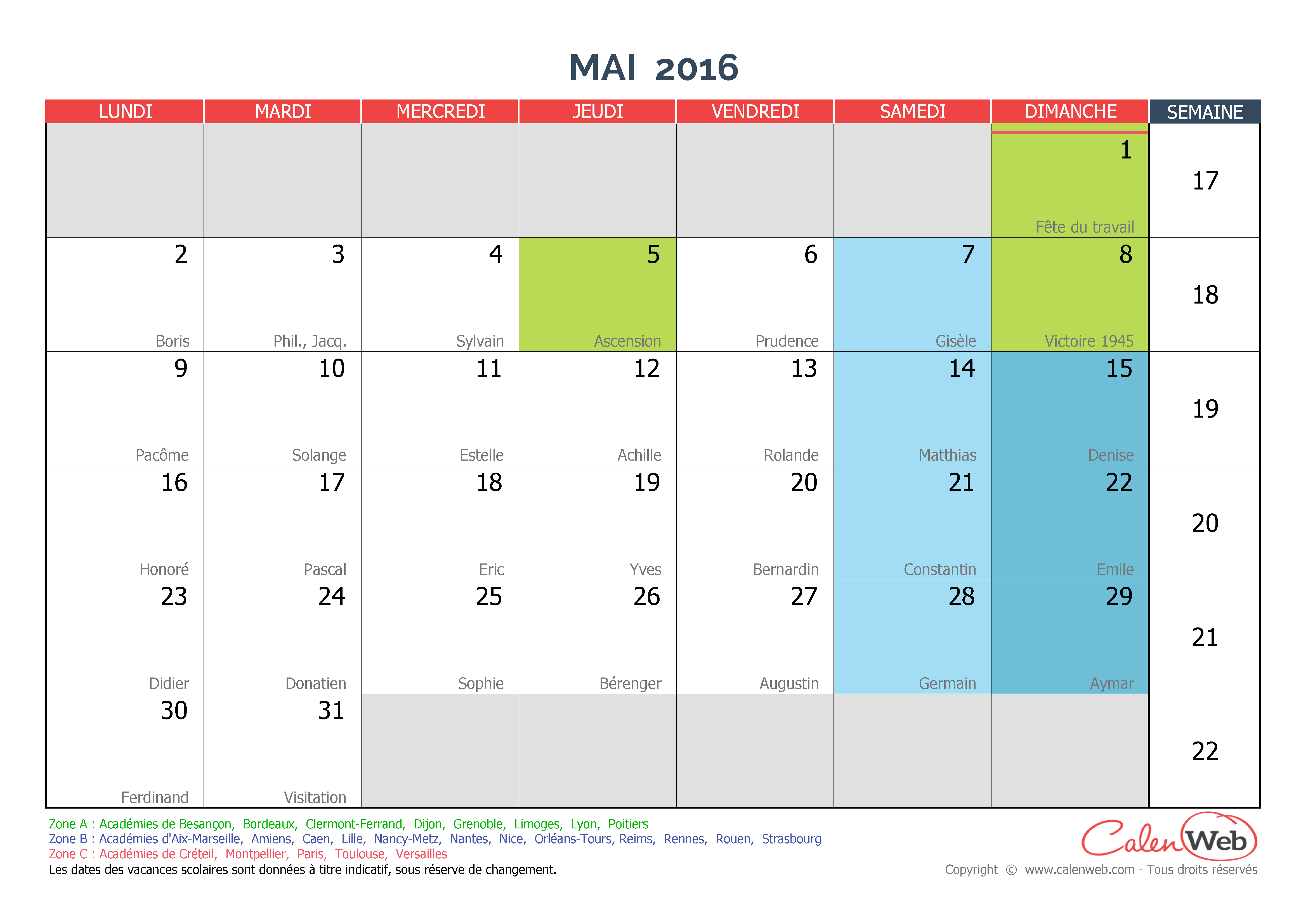 Calendrier mensuel mois de mai 2016 avec f tes jours f ri s et vacances scolaires - Vacances de noel 2016 dates ...