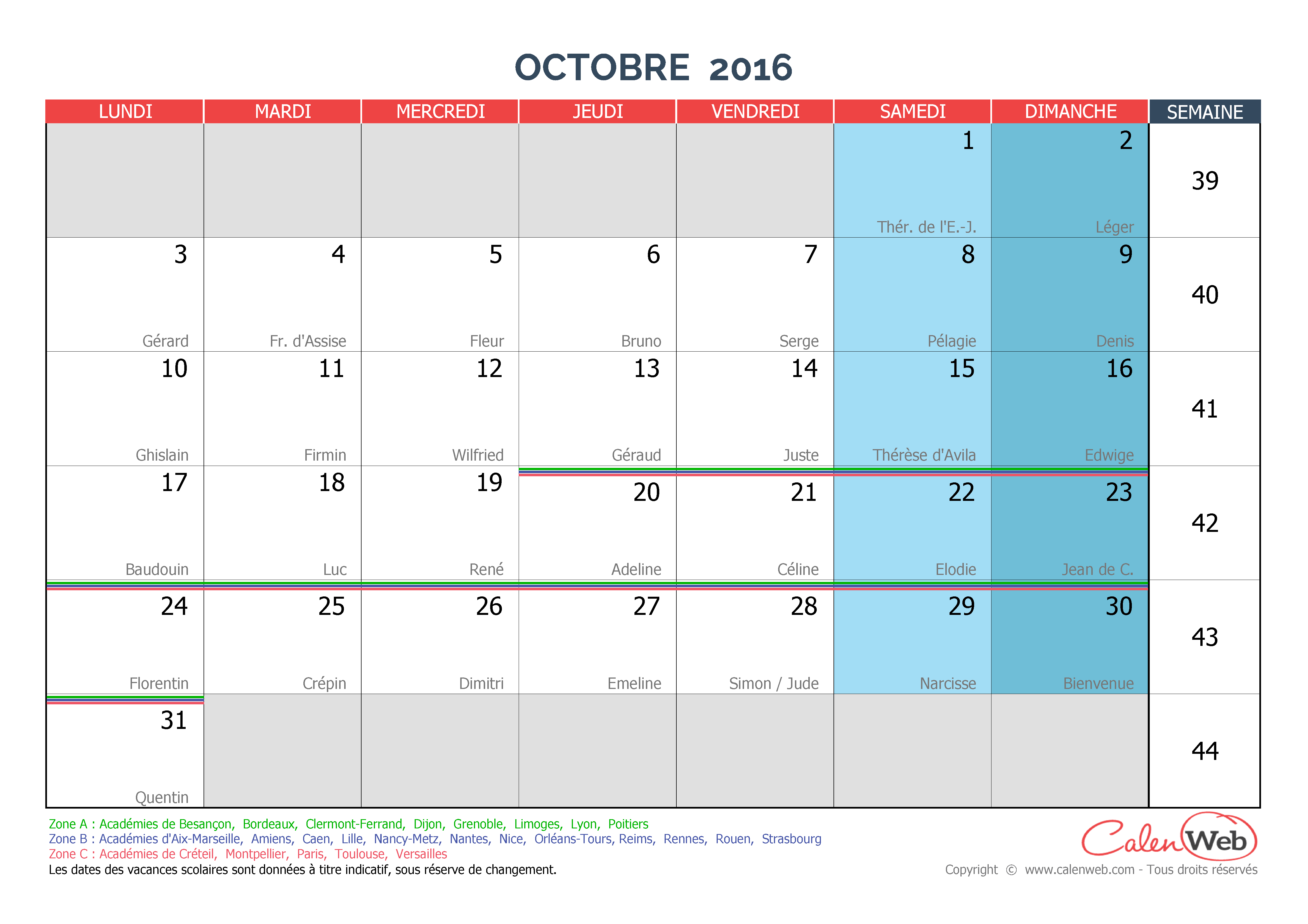 Calendrier mensuel - Mois d'octobre 2016 Avec fêtes, jours fériés ...
