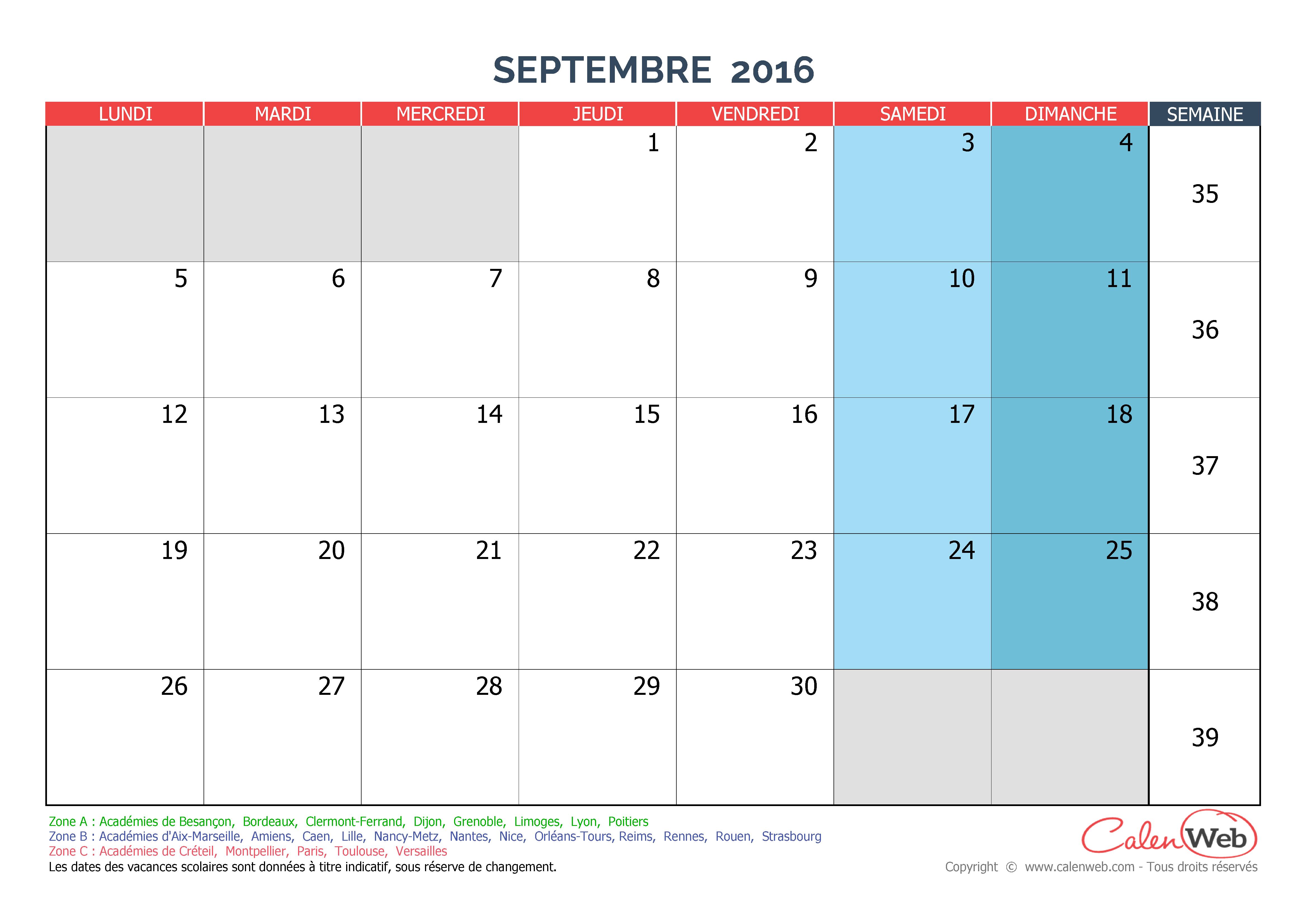 Calendrier Mois De Septembre.Calendrier Mensuel Mois De Septembre 2016 Avec Jours