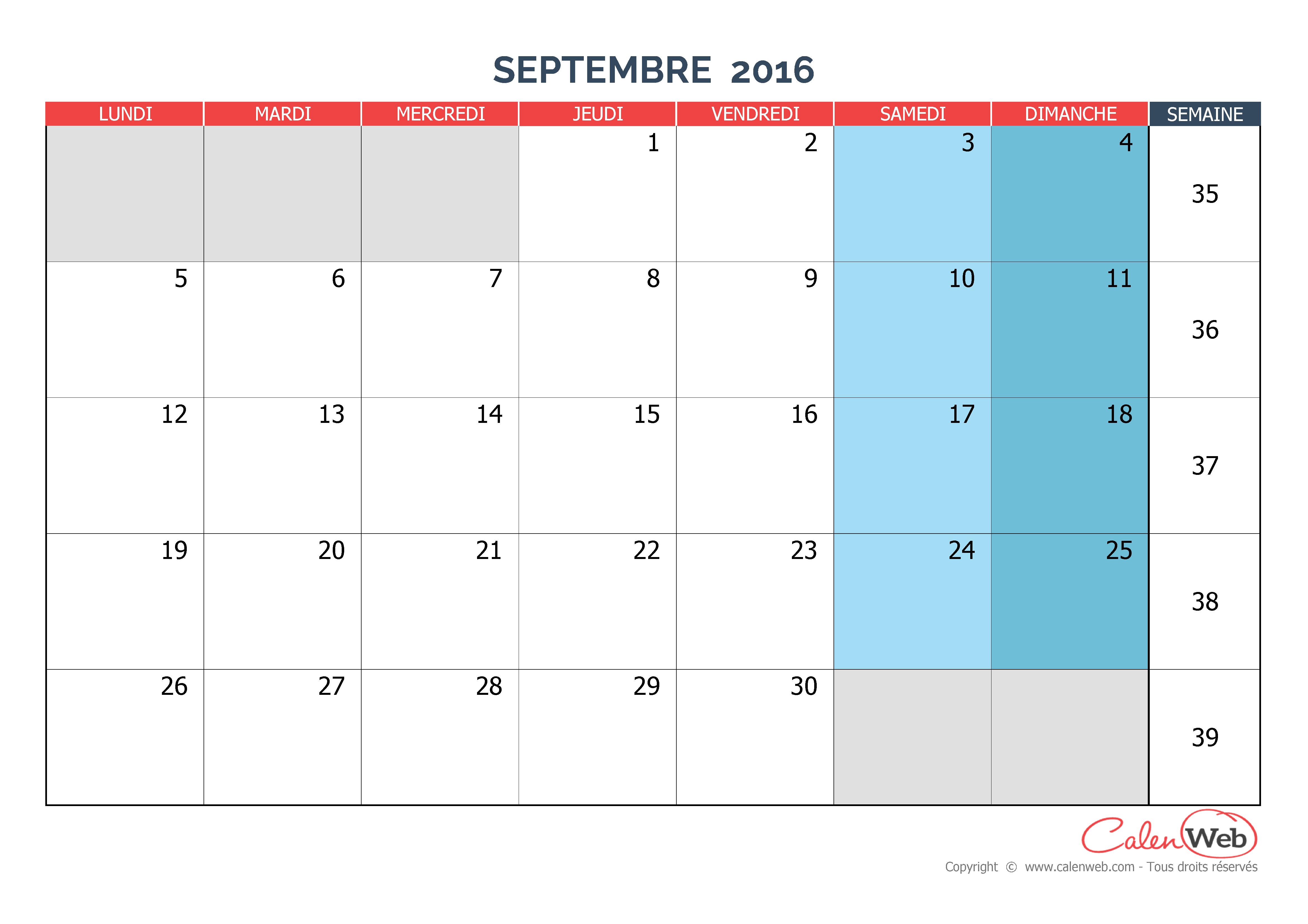 Calendrier mensuel - Mois de septembre 2016 Version vierge - Calenweb ...