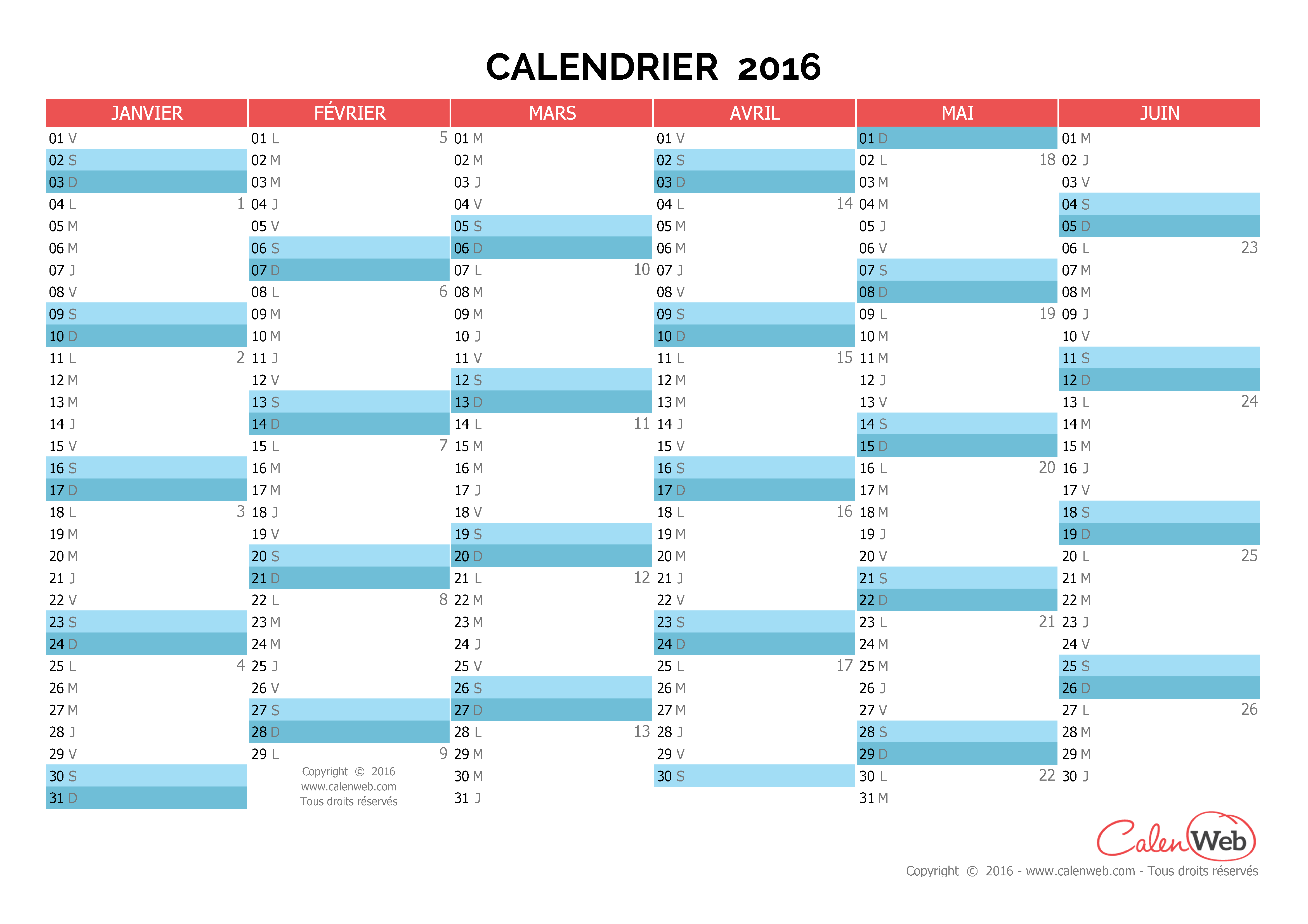 calendrier 2016 semaines
