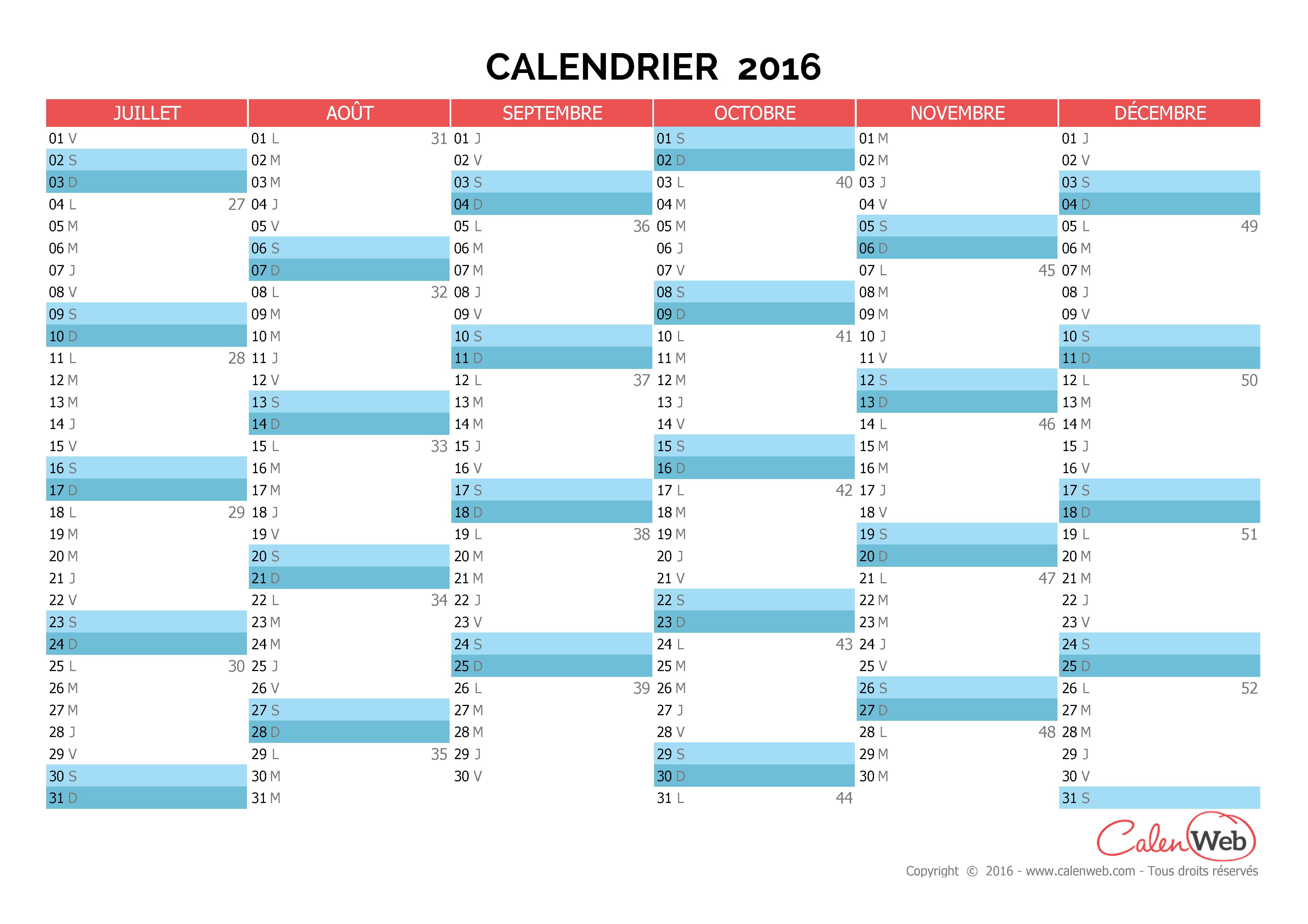 Calendrier semestriel - Année 2016 Planning semestriel vierge ...