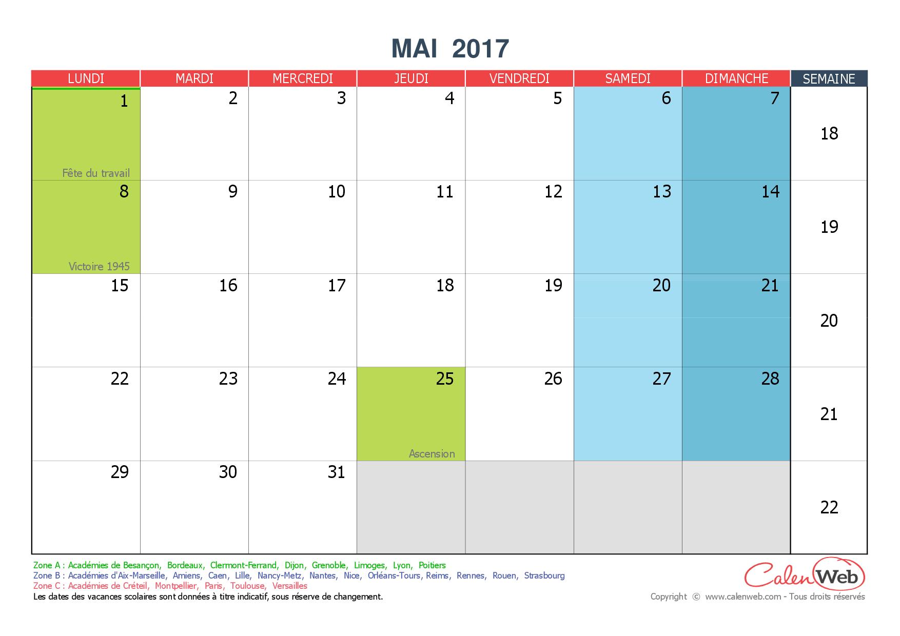 calendrier mensuel mois de mai 2017 avec jours f ri s et. Black Bedroom Furniture Sets. Home Design Ideas