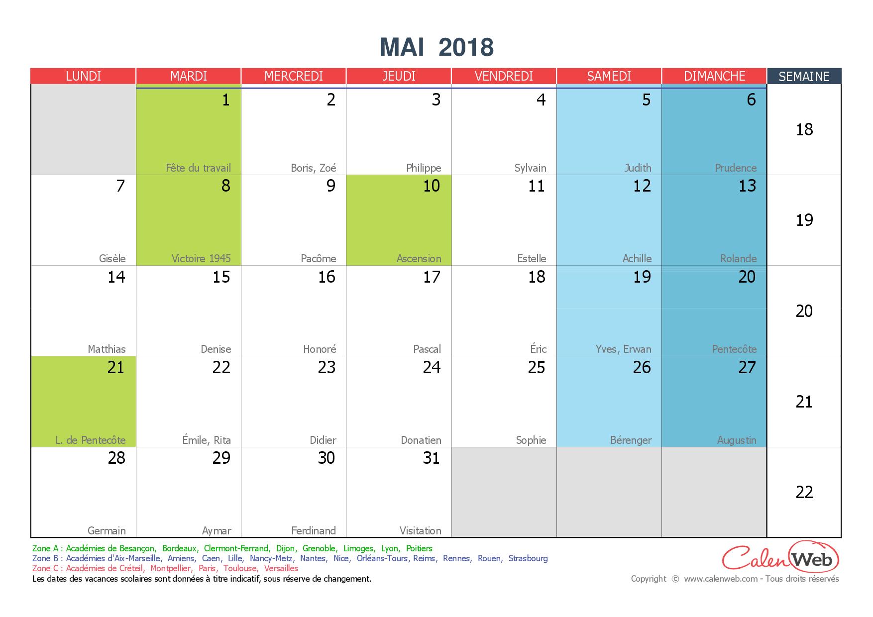calendrier mensuel mois de mai 2018 avec f tes jours f ri s et vacances scolaires. Black Bedroom Furniture Sets. Home Design Ideas