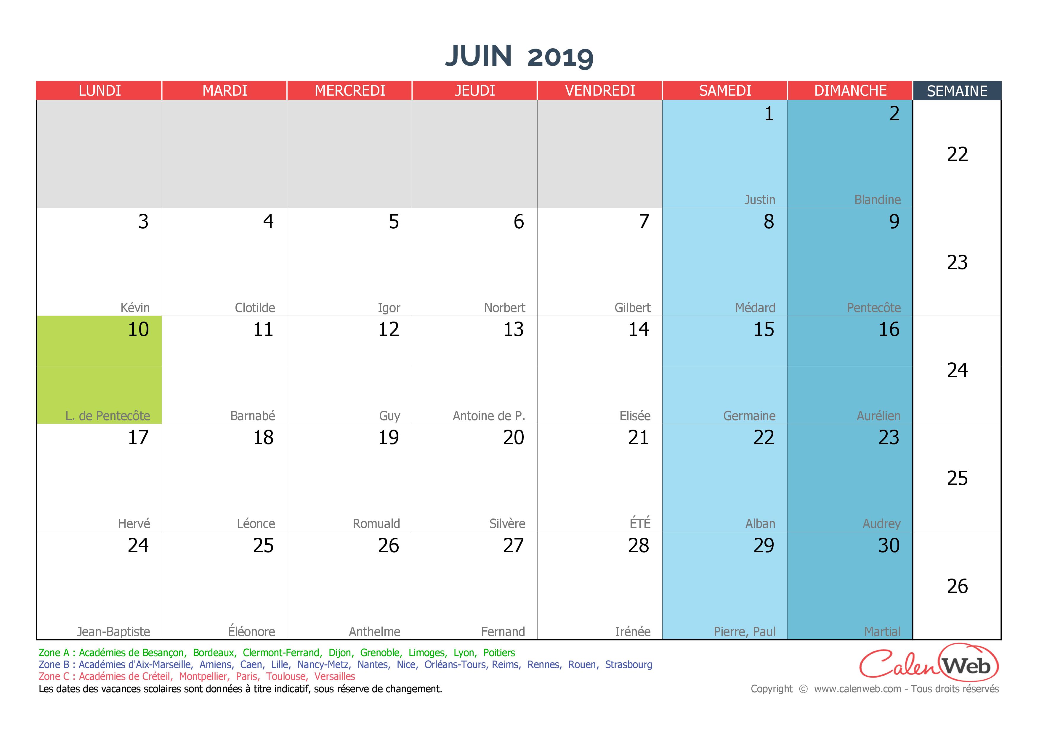 Calendrier Mensuel Juin 2019.Calendrier Mensuel Mois De Juin 2019 Avec Fetes Jours