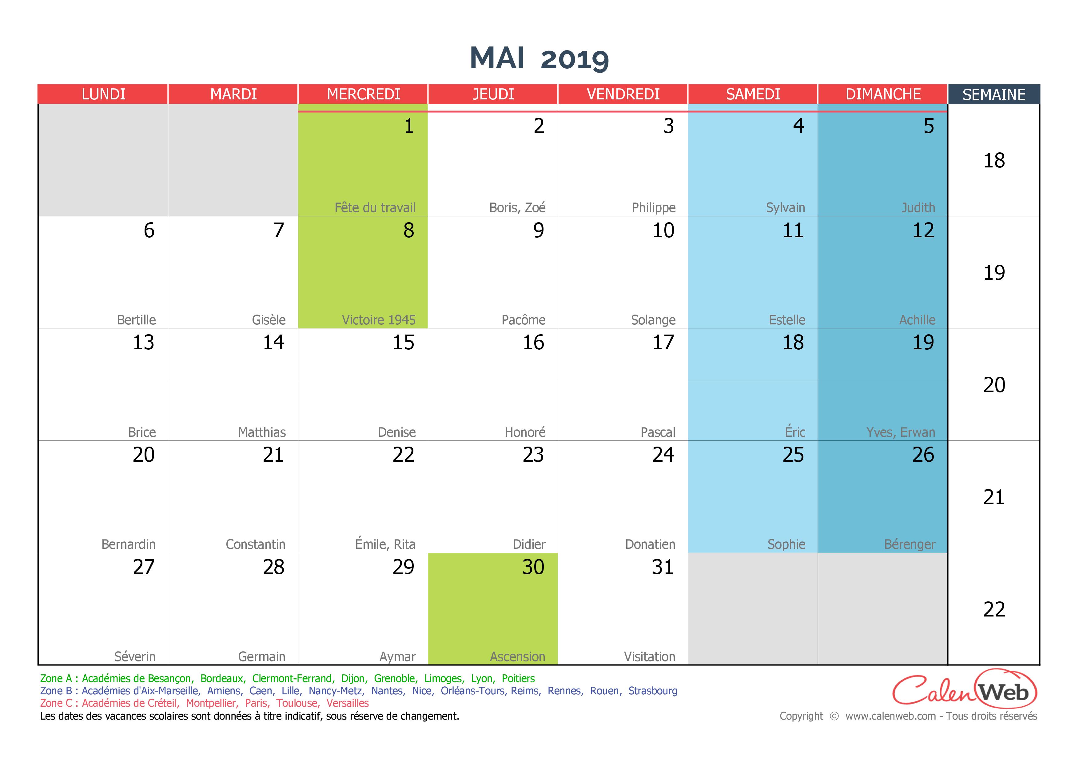 Calendrier Mai2019.Calendrier Mensuel Mois De Mai 2019 Avec Fetes Jours