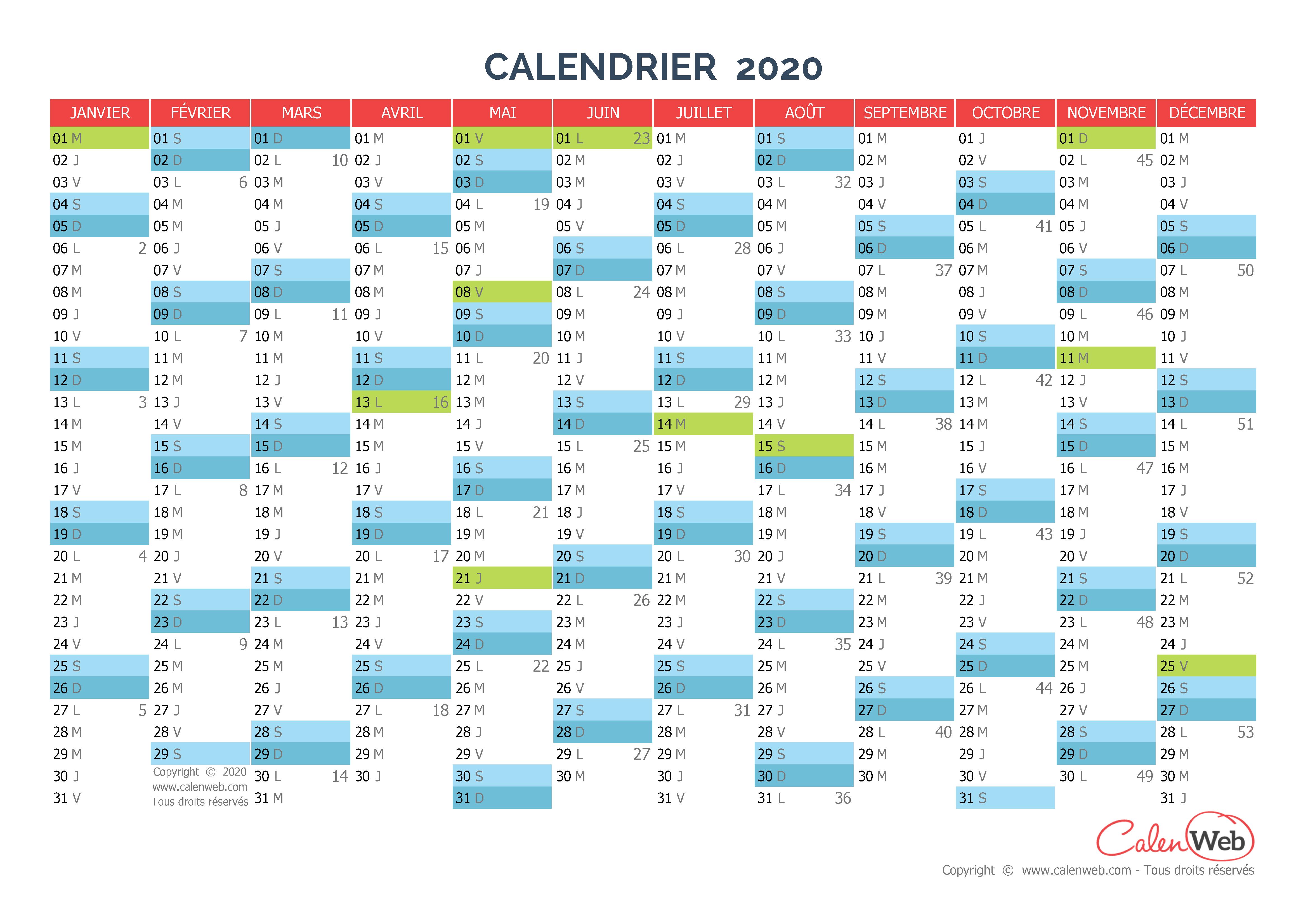Calendrier annuel   Année 2020 avec jours fériés   Calenweb.com