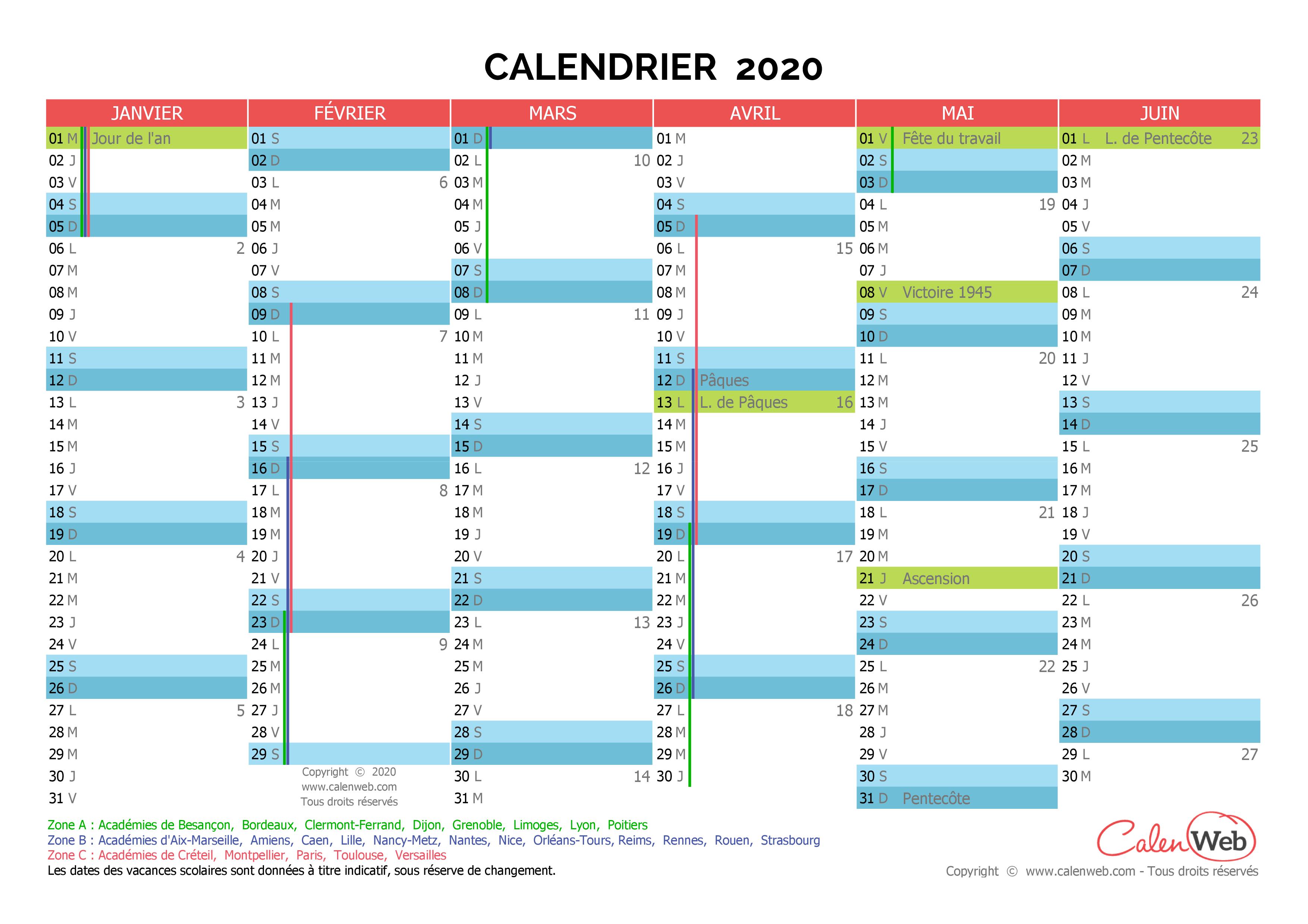 Calendrier semestriel   Année 2020 avec jours fériés et vacances