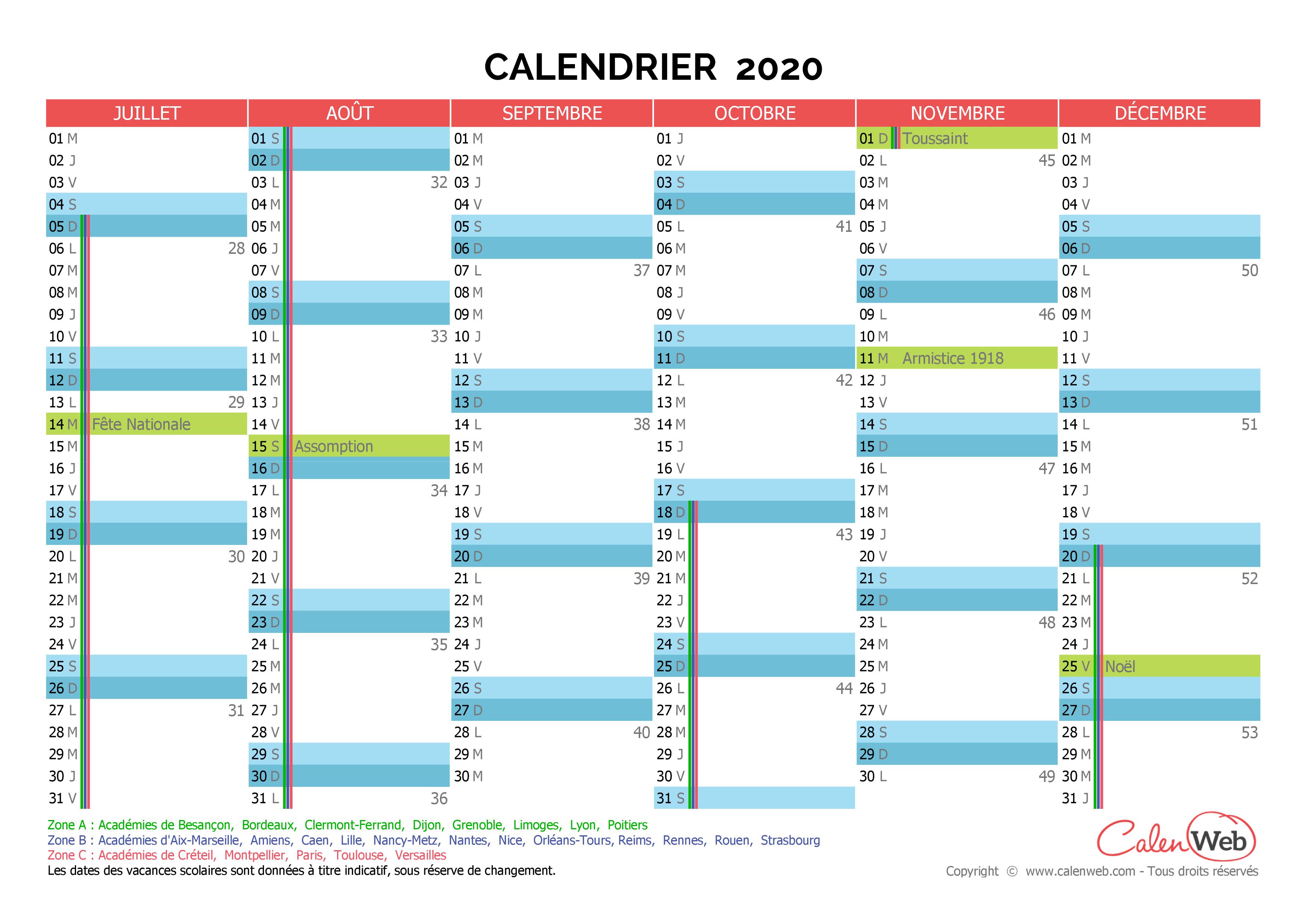 Calendrier 2021 Calenweb Calendrier semestriel   Année 2020 avec jours fériés et vacances