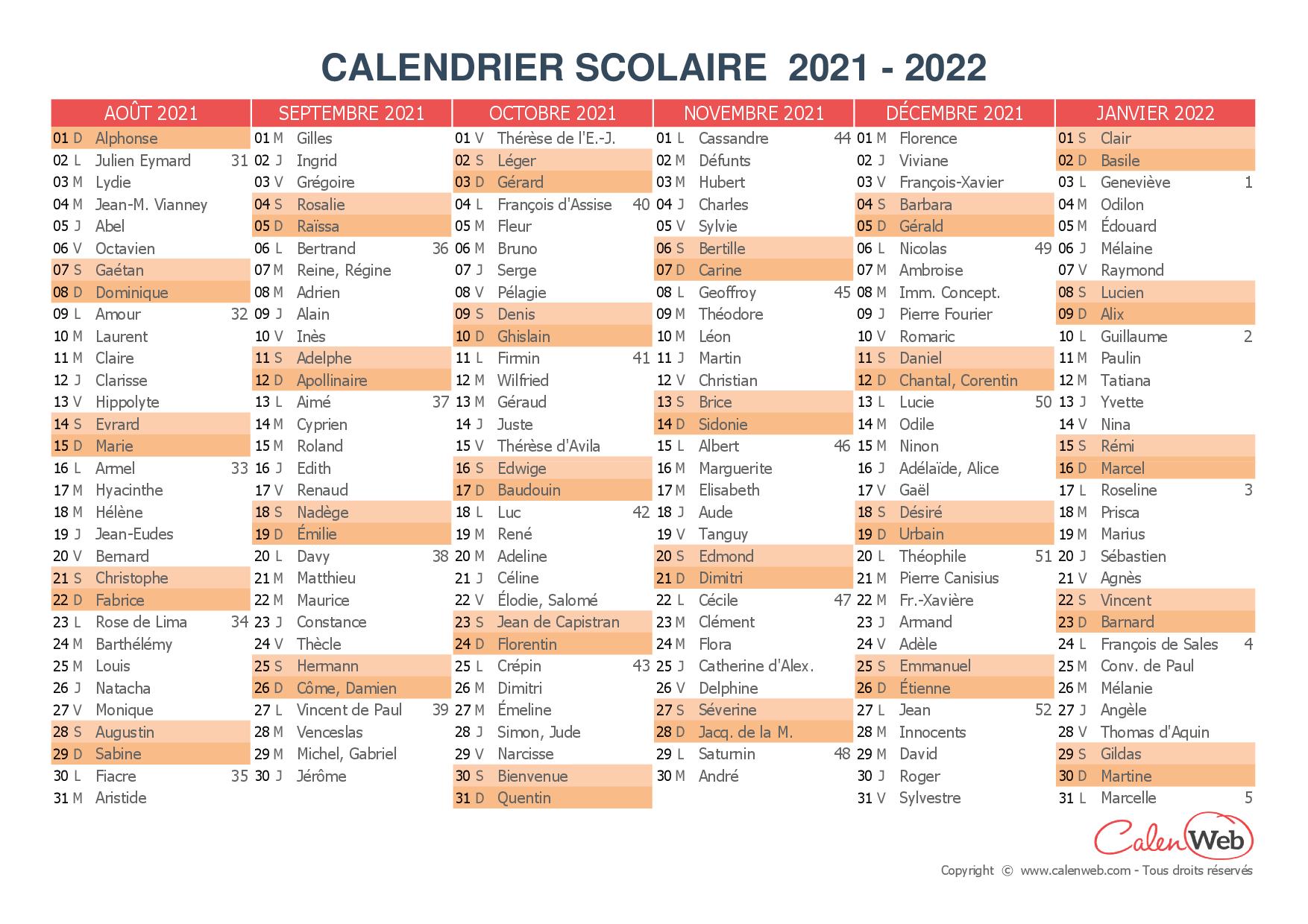 Calendrier Fêtes 2022 Calendrier scolaire semestriel 2021 2022 avec affichage des fêtes