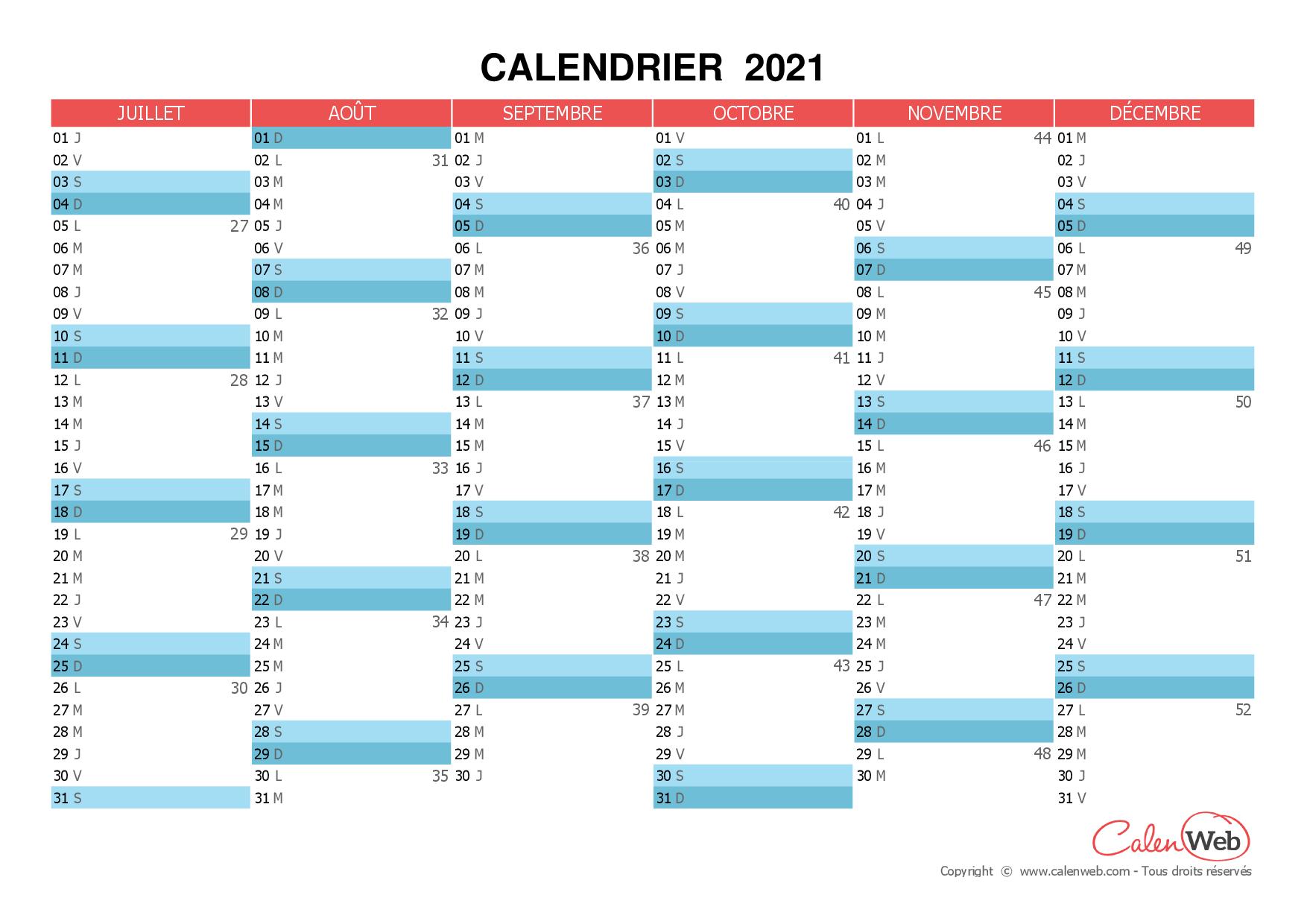 Calendrier semestriel - Année 2021 Planning semestriel ...