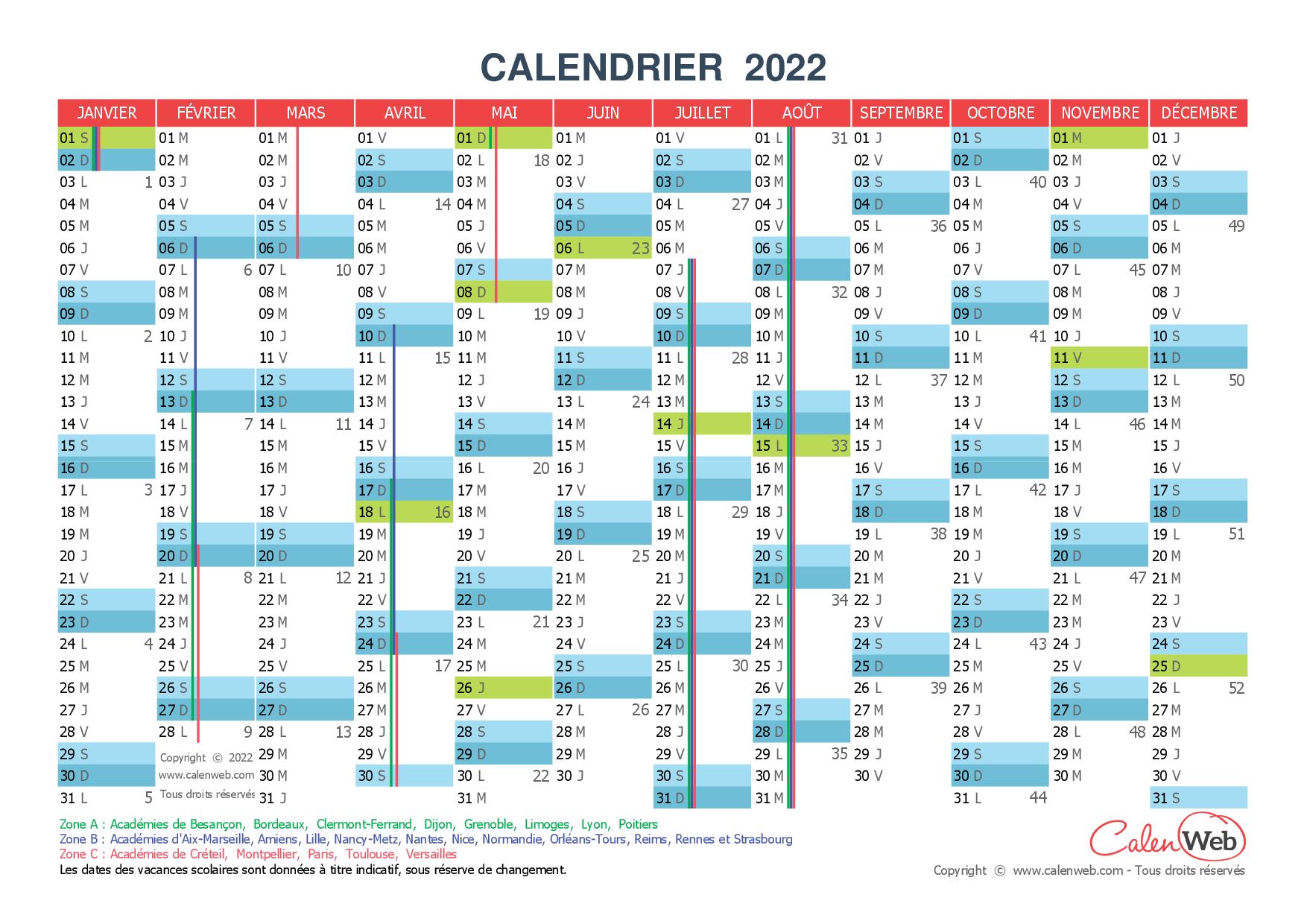 Calendrier 2022 Avec Vacances Scolaires Et Jours Feries Calendrier annuel   Année 2022 avec jours fériés et vacances