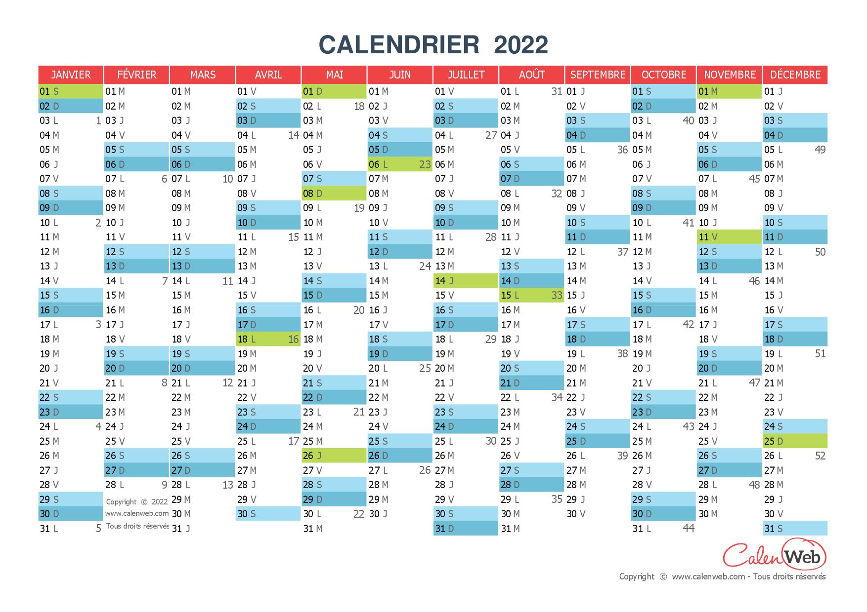 Calendrier Jour Fériés 2022 Calendrier annuel   Année 2022 avec jours fériés   Calenweb.com
