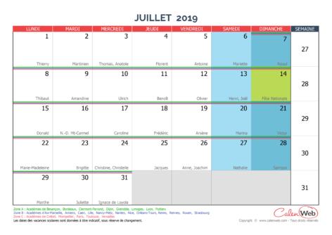 Calendrier mensuel – Mois de juillet 2019 Avec fêtes, jours fériés et vacances scolaires