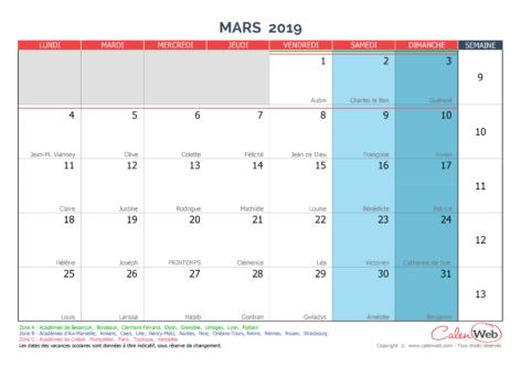 Calendrier mensuel – Mois de mars 2019 Avec fêtes, jours fériés et vacances scolaires