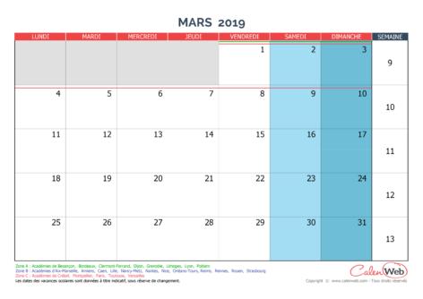 Calendrier mensuel – Mois de mars 2019 Avec jours fériés et vacances scolaires