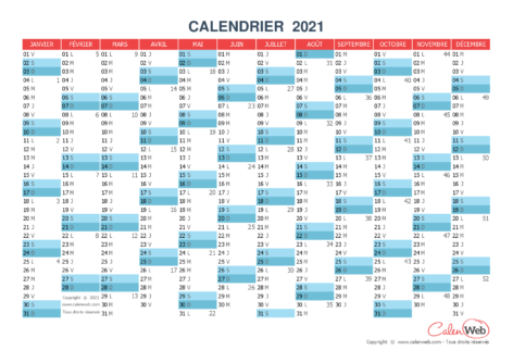 Calendrier annuel – Année 2021 Version vierge