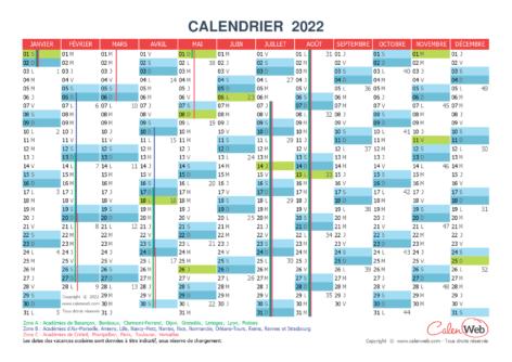 Calendrier annuel – Année 2022 avec jours fériés et vacances scolaires