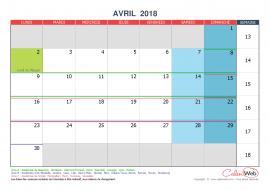 Calendrier mensuel – Mois d'avril 2018