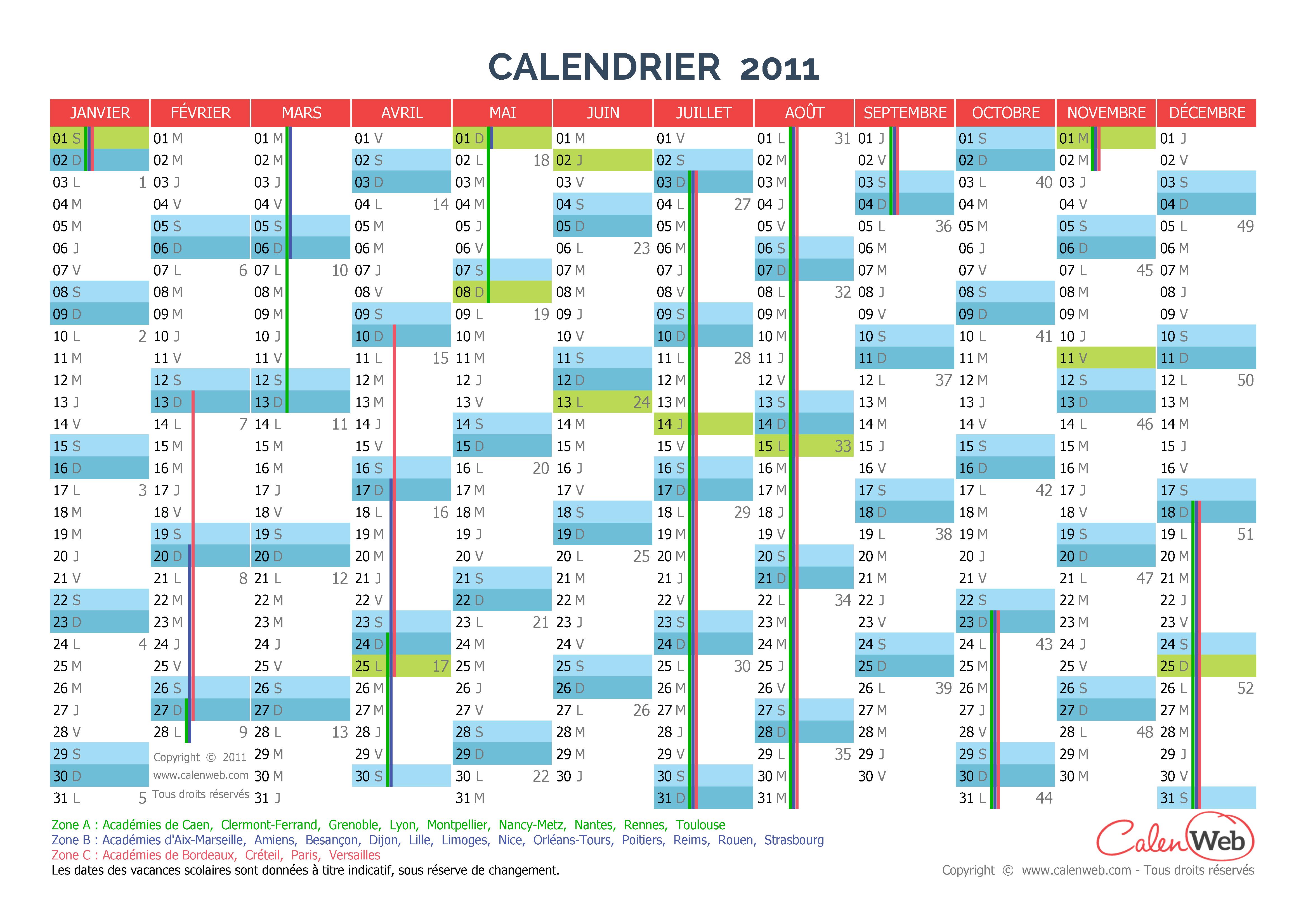 calendrier annuel ann e 2011 avec jours f ri s et vacances scolaires. Black Bedroom Furniture Sets. Home Design Ideas