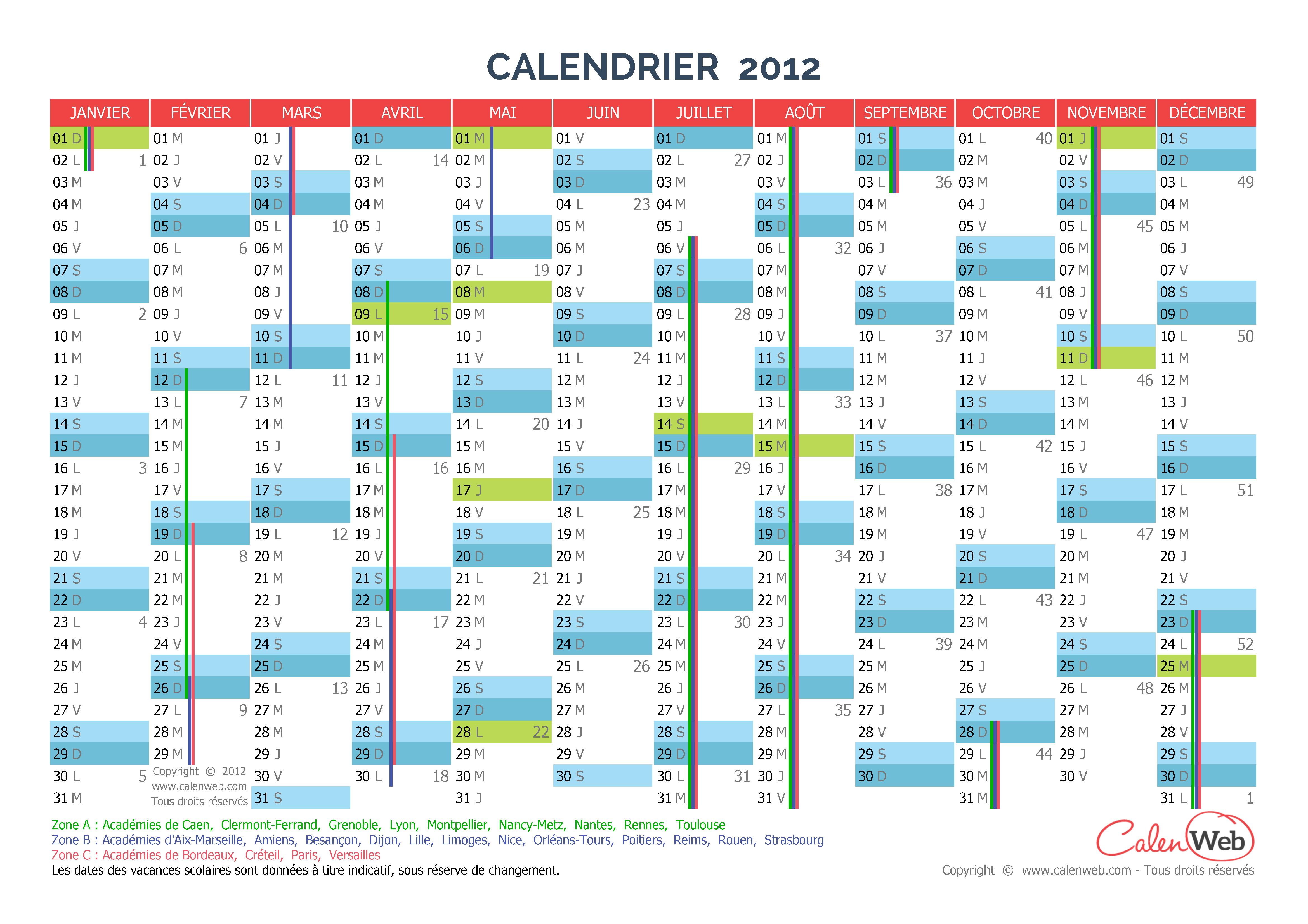 calendrier annuel ann e 2012 avec jours f ri s et vacances scolaires. Black Bedroom Furniture Sets. Home Design Ideas