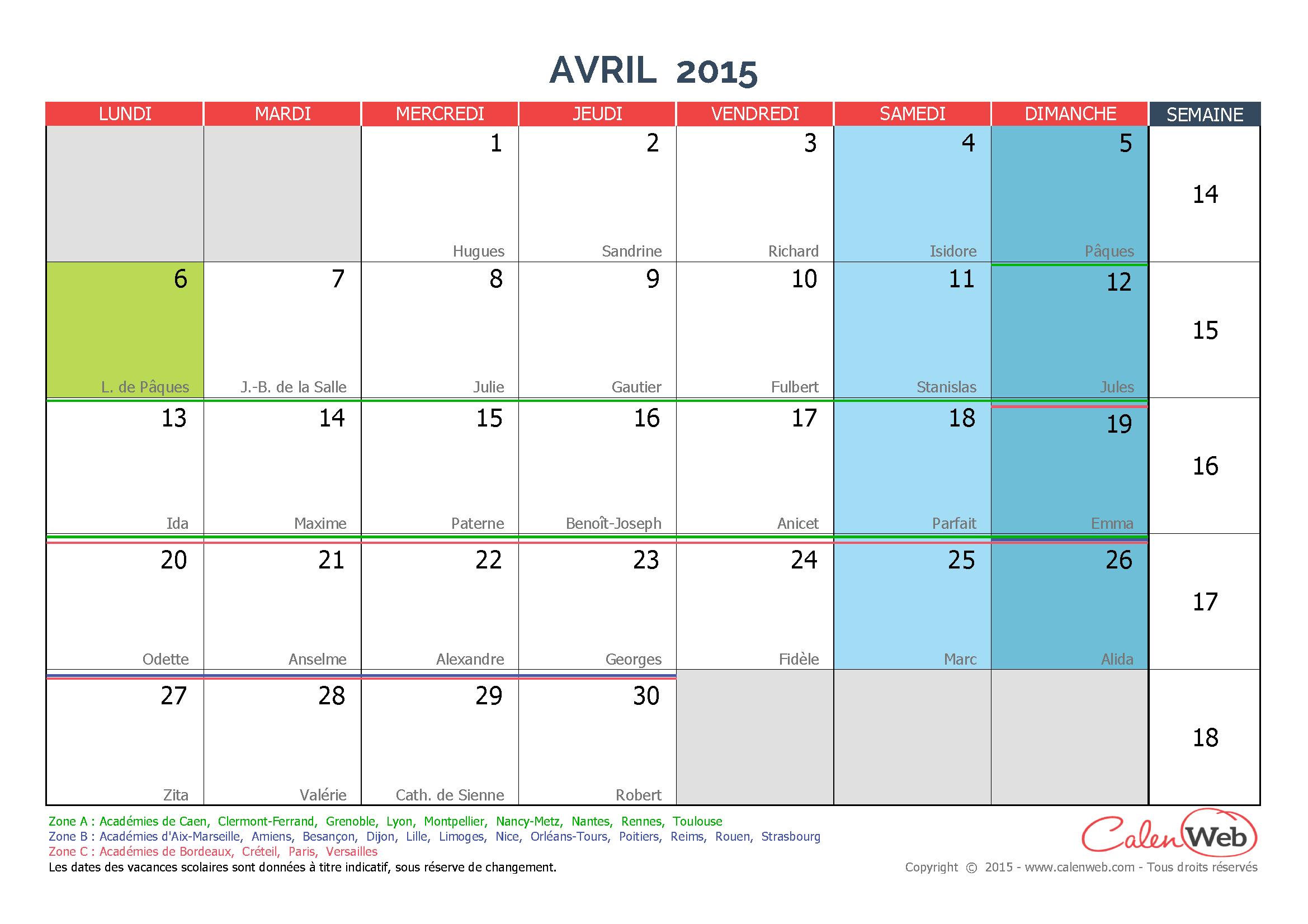 calendrier mensuel mois d 39 avril 2015 avec f tes jours f ri s et vacances scolaires. Black Bedroom Furniture Sets. Home Design Ideas