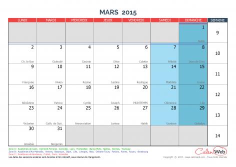 ... mars 2015 Avec fêtes, jours fériés et vacances scolaires - Calenweb