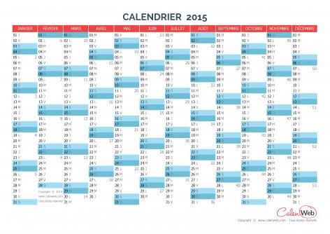 Calendrier annuel – Année 2015 Version vierge