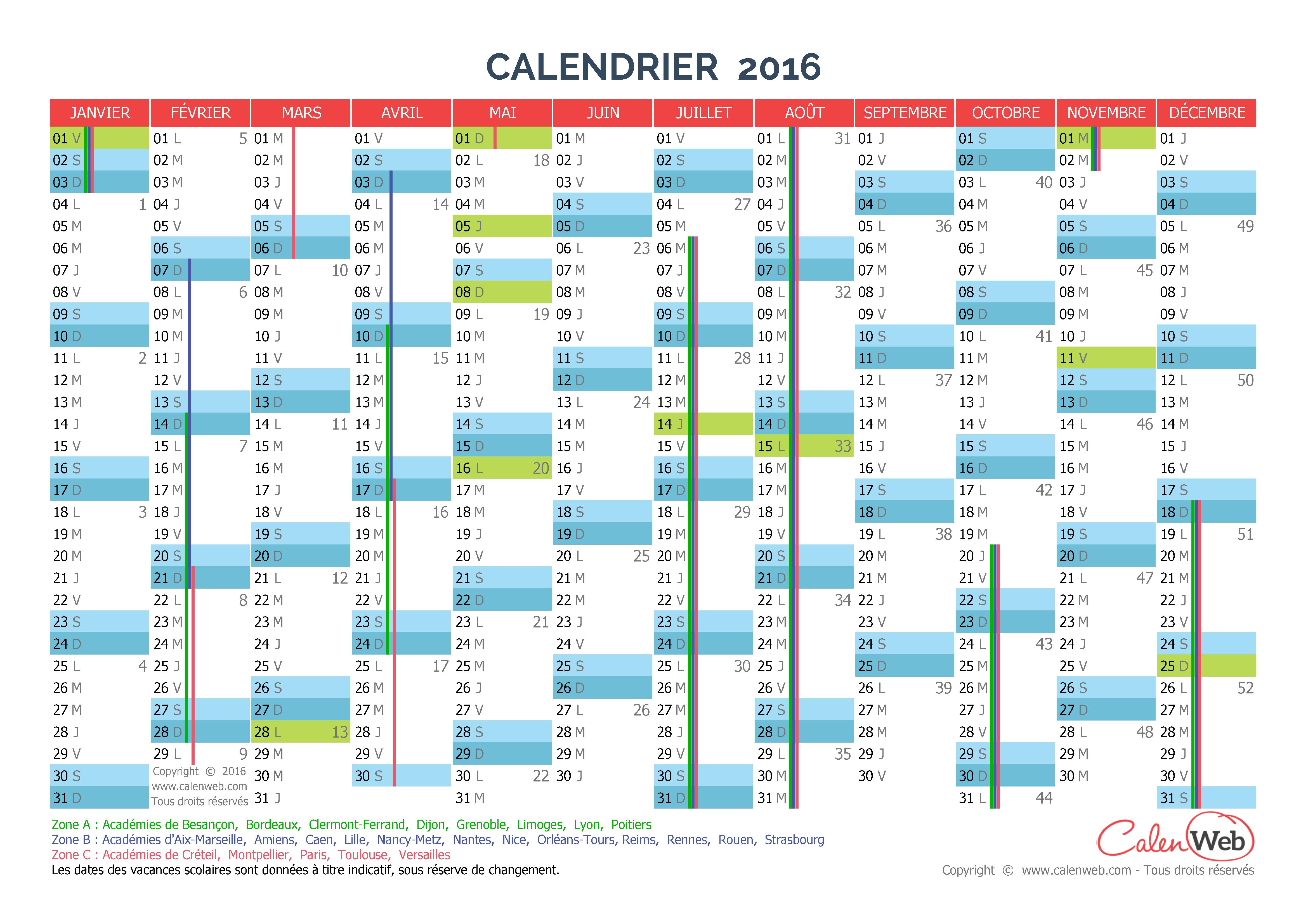 calendrier annuel ann e 2016 avec jours f ri s et vacances scolaires. Black Bedroom Furniture Sets. Home Design Ideas