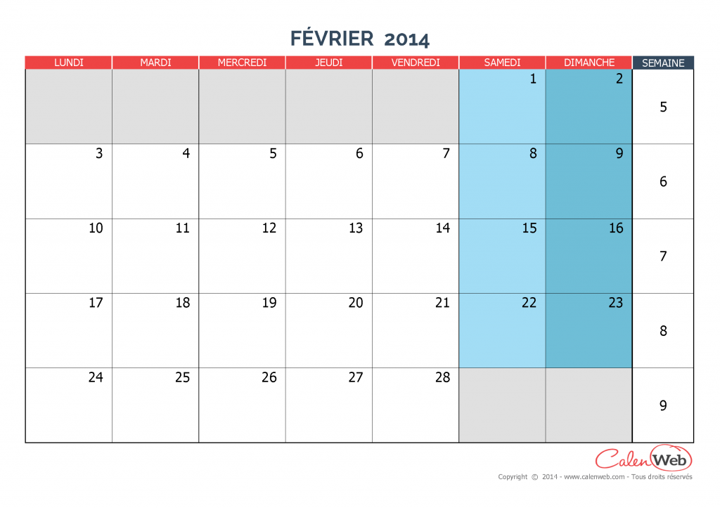 calendrier mensuel mois de f vrier 2014 version vierge. Black Bedroom Furniture Sets. Home Design Ideas