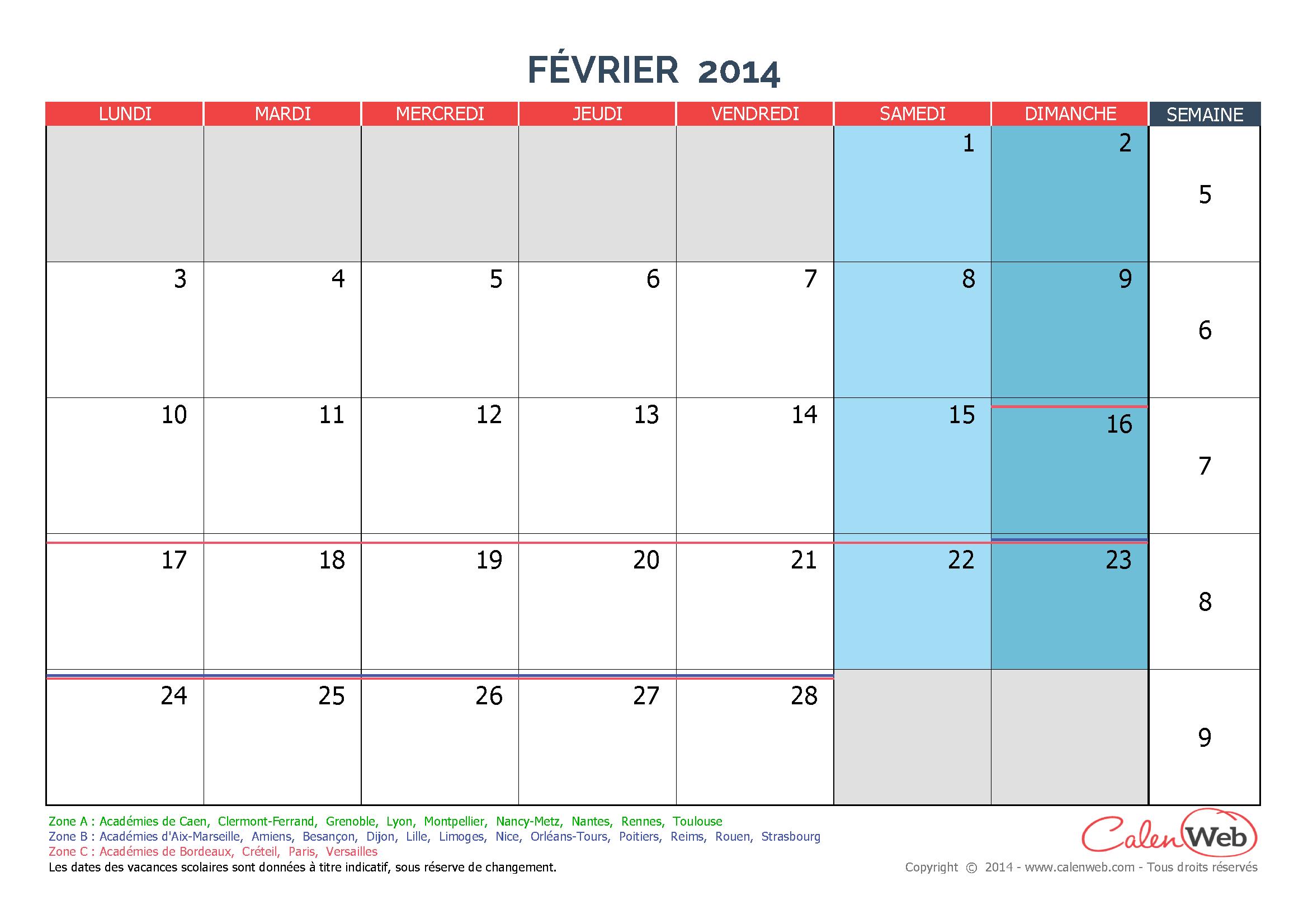 Calendrier Mensuel Mois De F Vrier 2014 Avec Jours F Ri S Et Vacances Scolaires