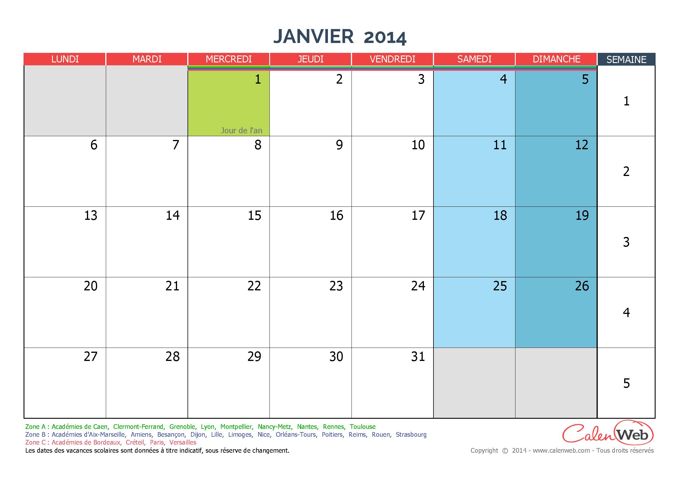 calendrier mensuel 2014 personnalisable avec jours f ri s et vacances scolaires. Black Bedroom Furniture Sets. Home Design Ideas